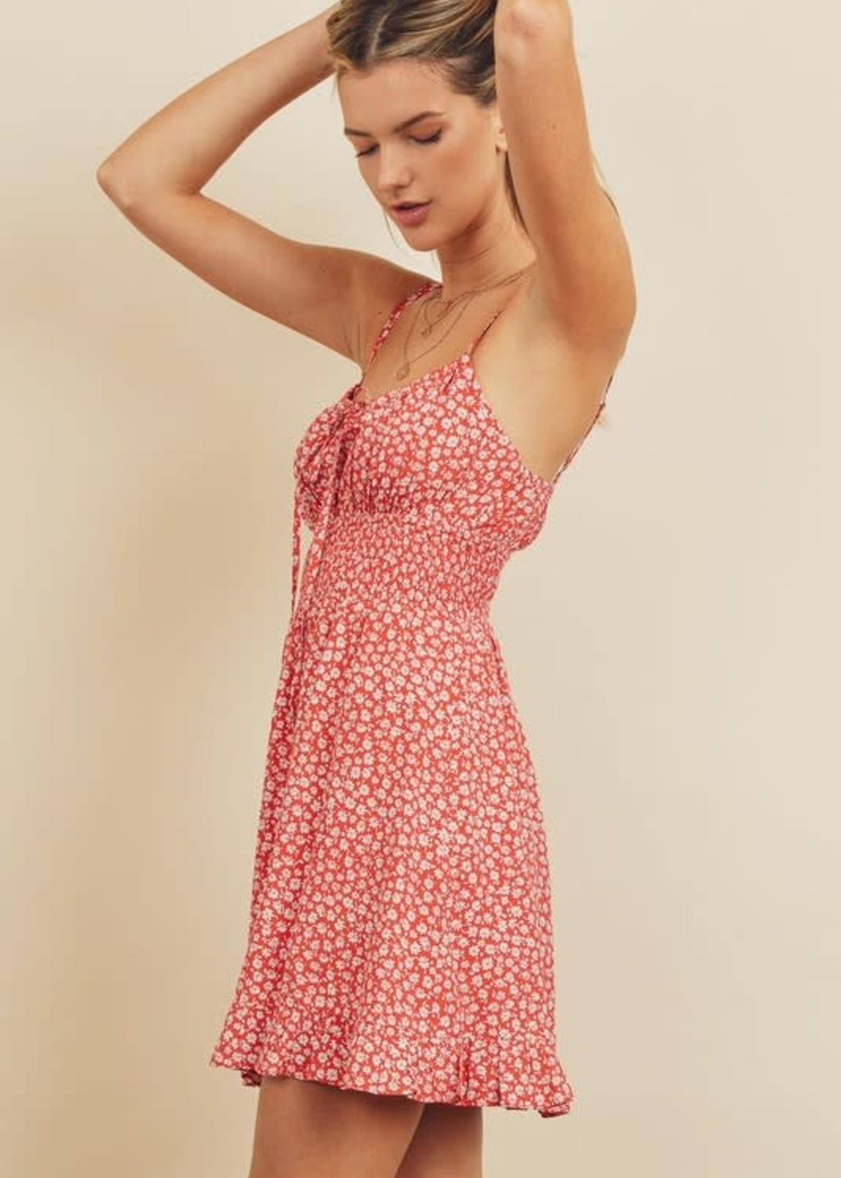Floral Smocked Waist Dress - Red