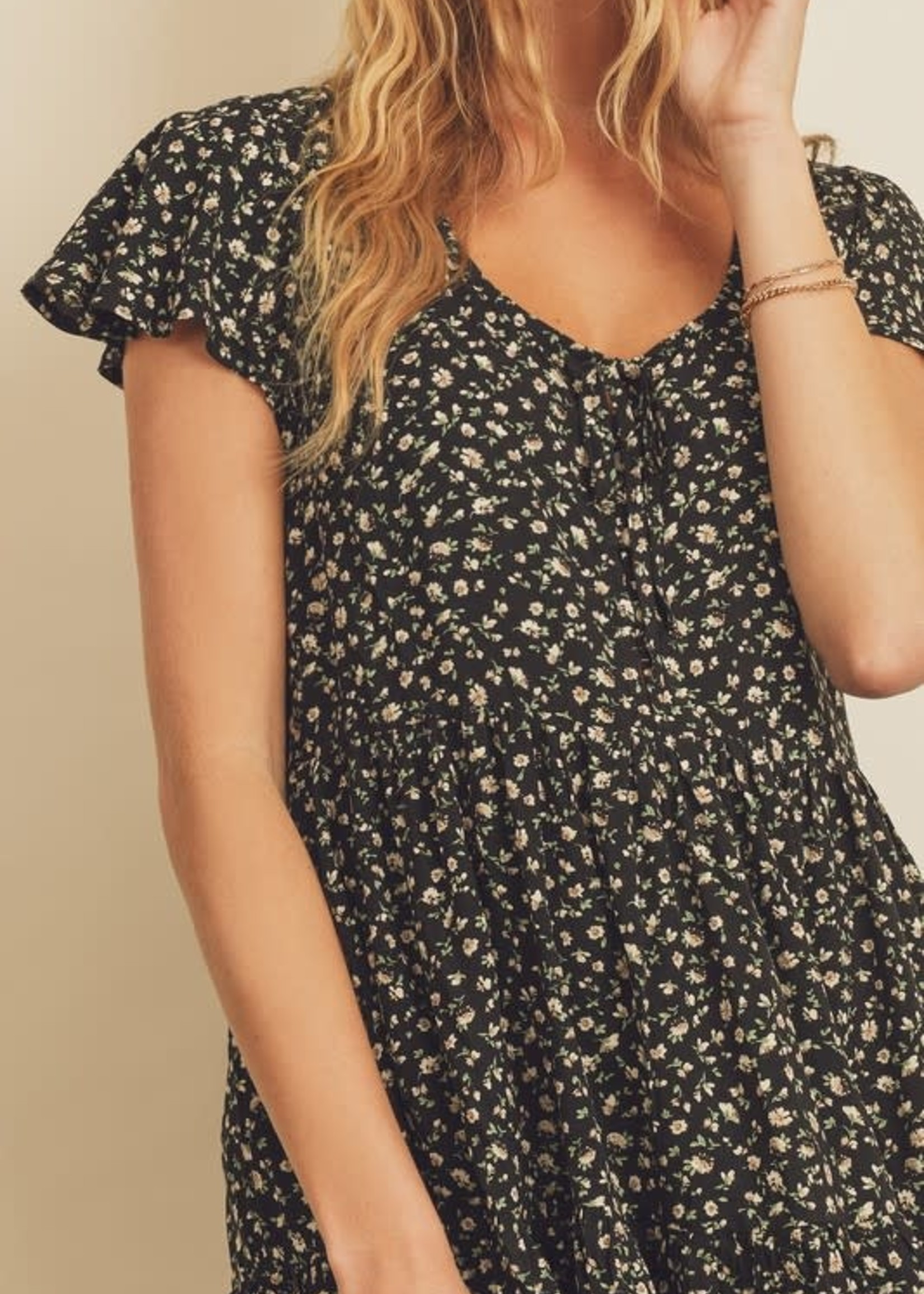 Ditsy Floral Tiered Dress - Black Mutli