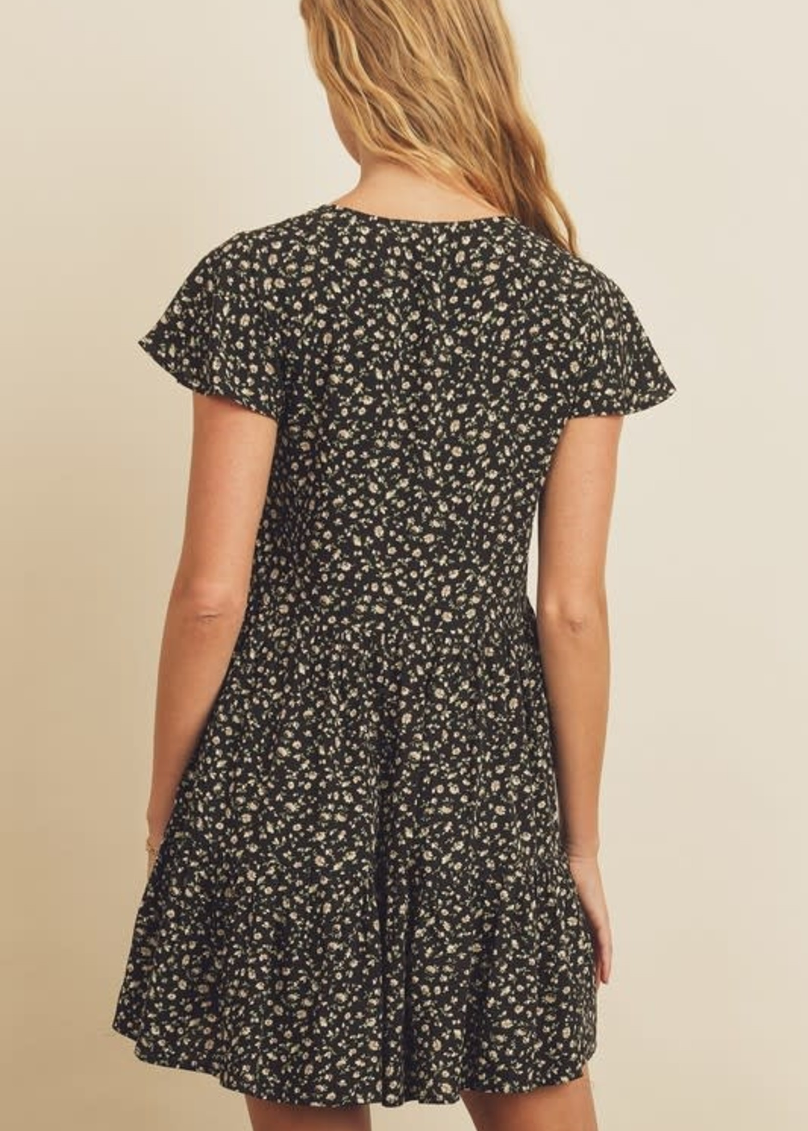 Ditsy Floral Tiered Dress - Black Mutli