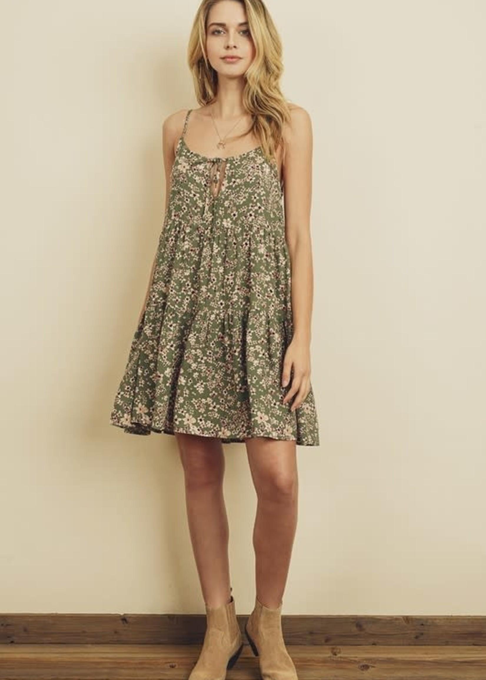 Floral Tiered Dress - Sage/rose