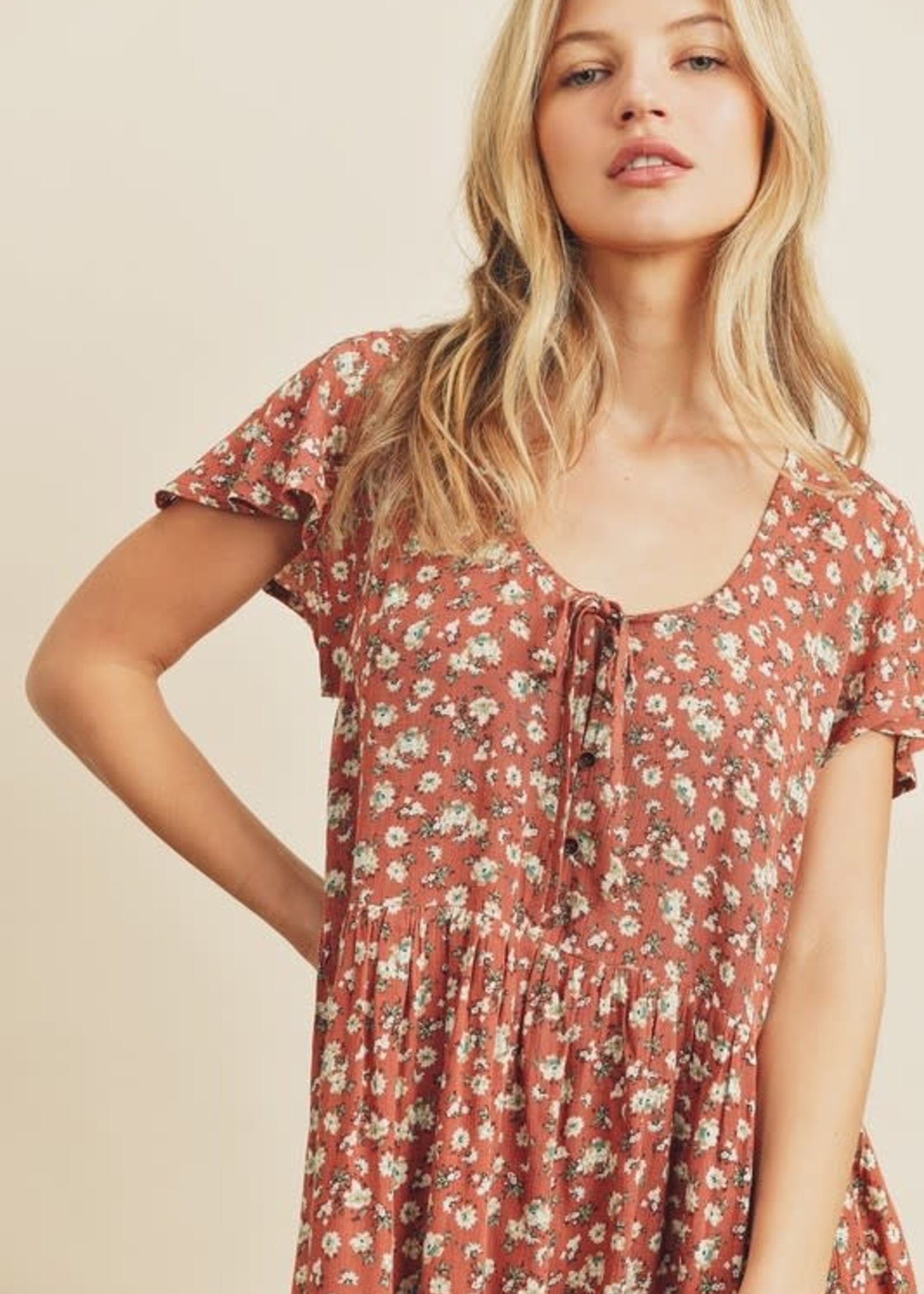 Foral Tiered Dress - Rust