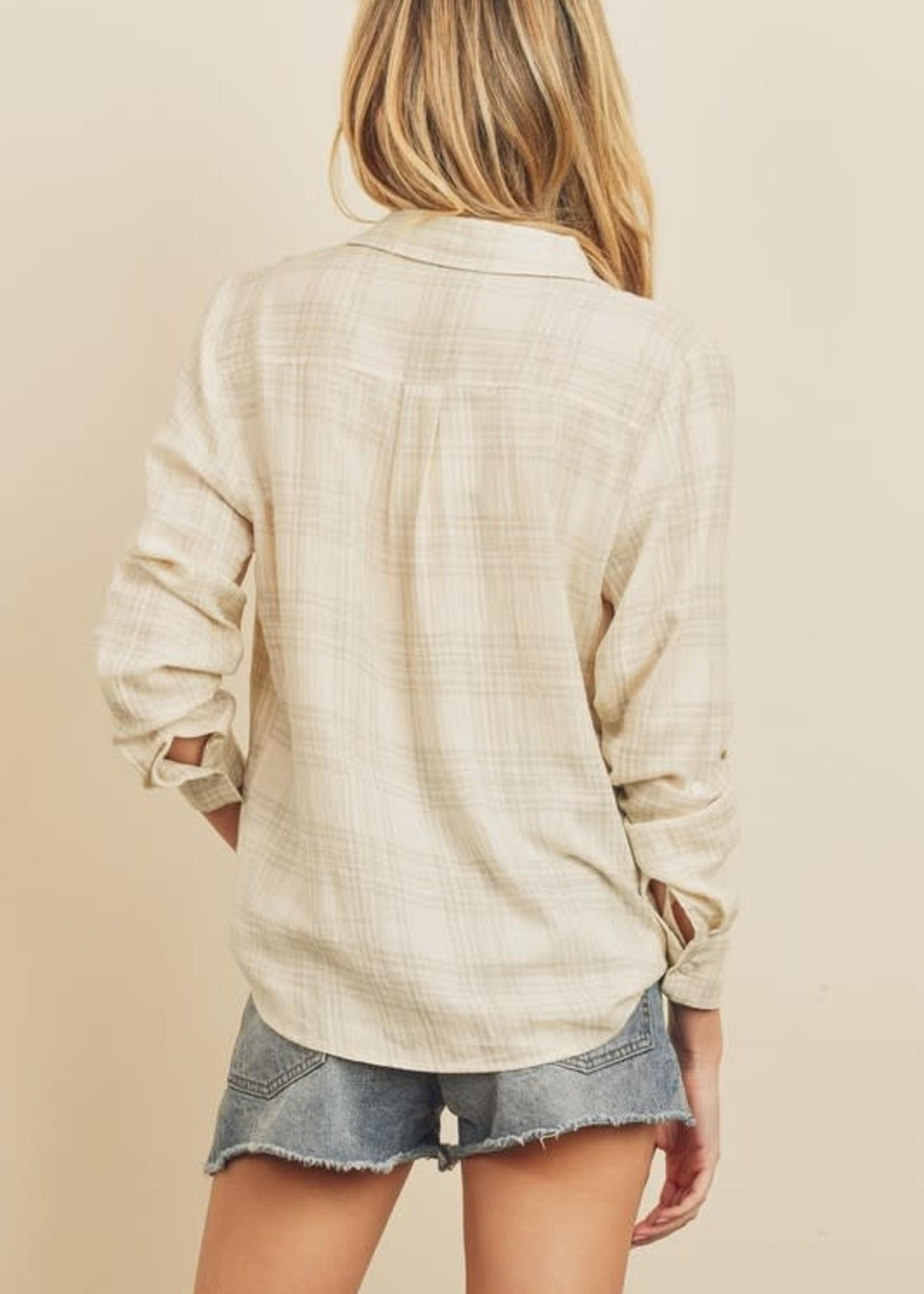Plaid Button Down Shirt - Natural