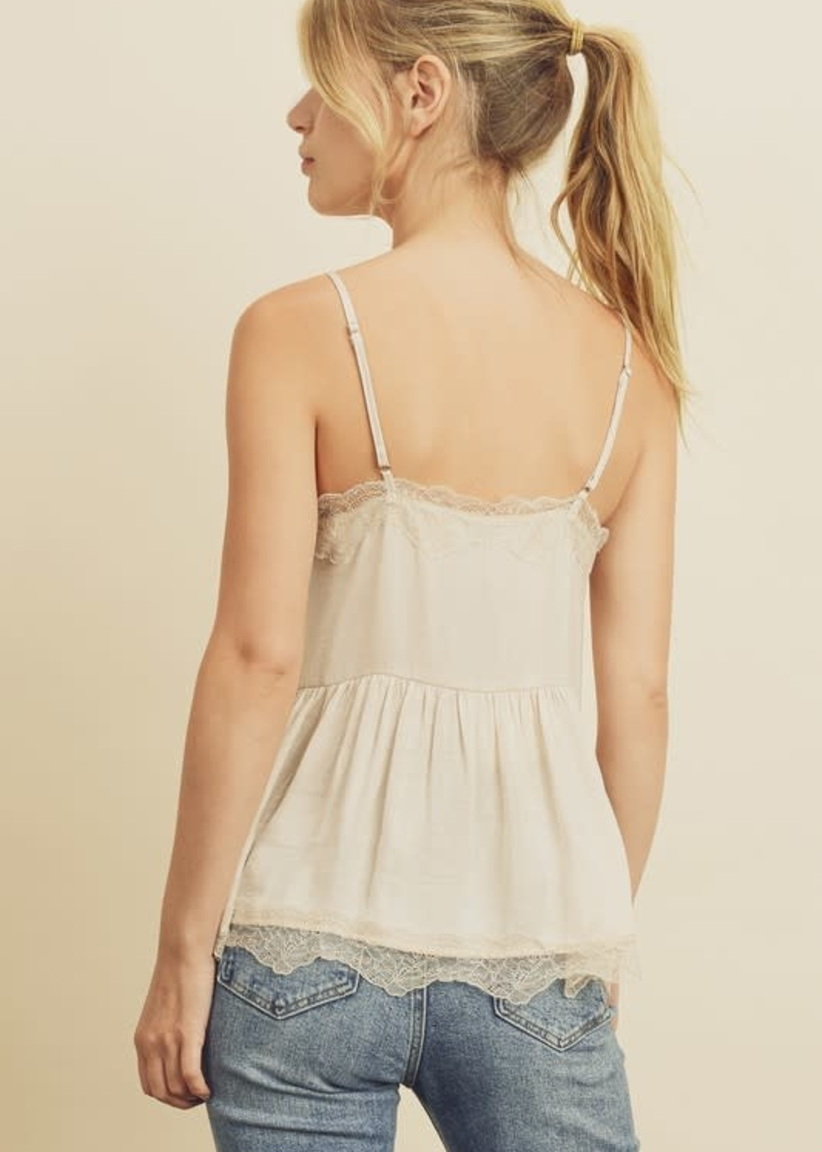 Washed Satin Cami with Lace - Eggshell