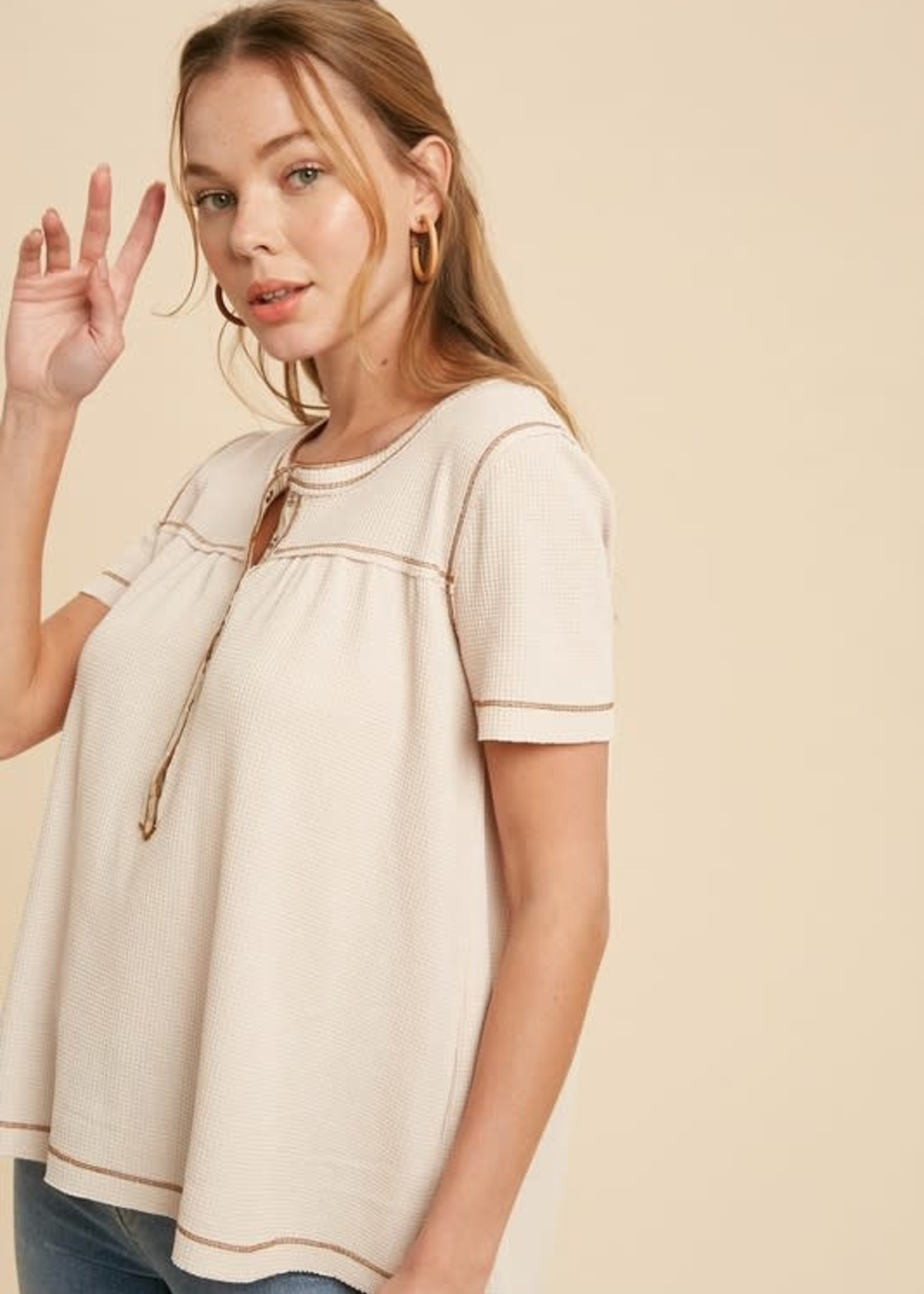 Short Sleeve Henley Thermal - Nude