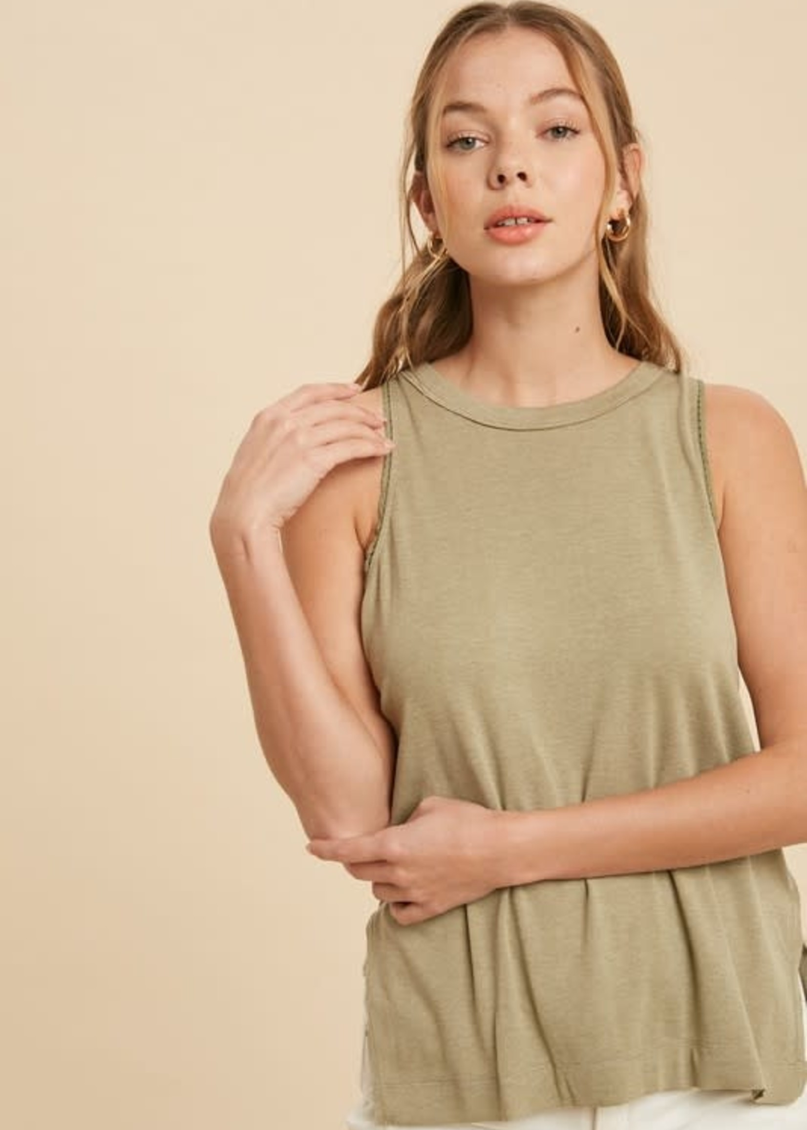 Tank with Trim Accent - Light Olive