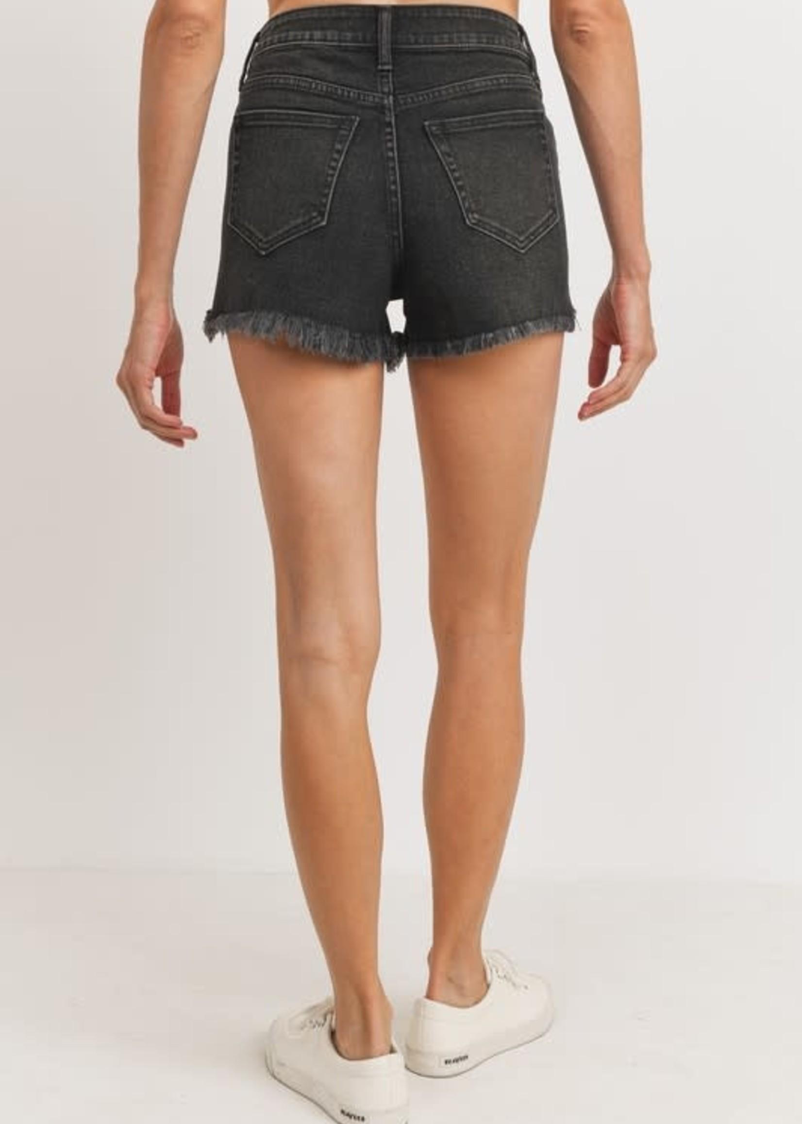 High Rise Hi-Lo Distressed Shorts - Washed Black