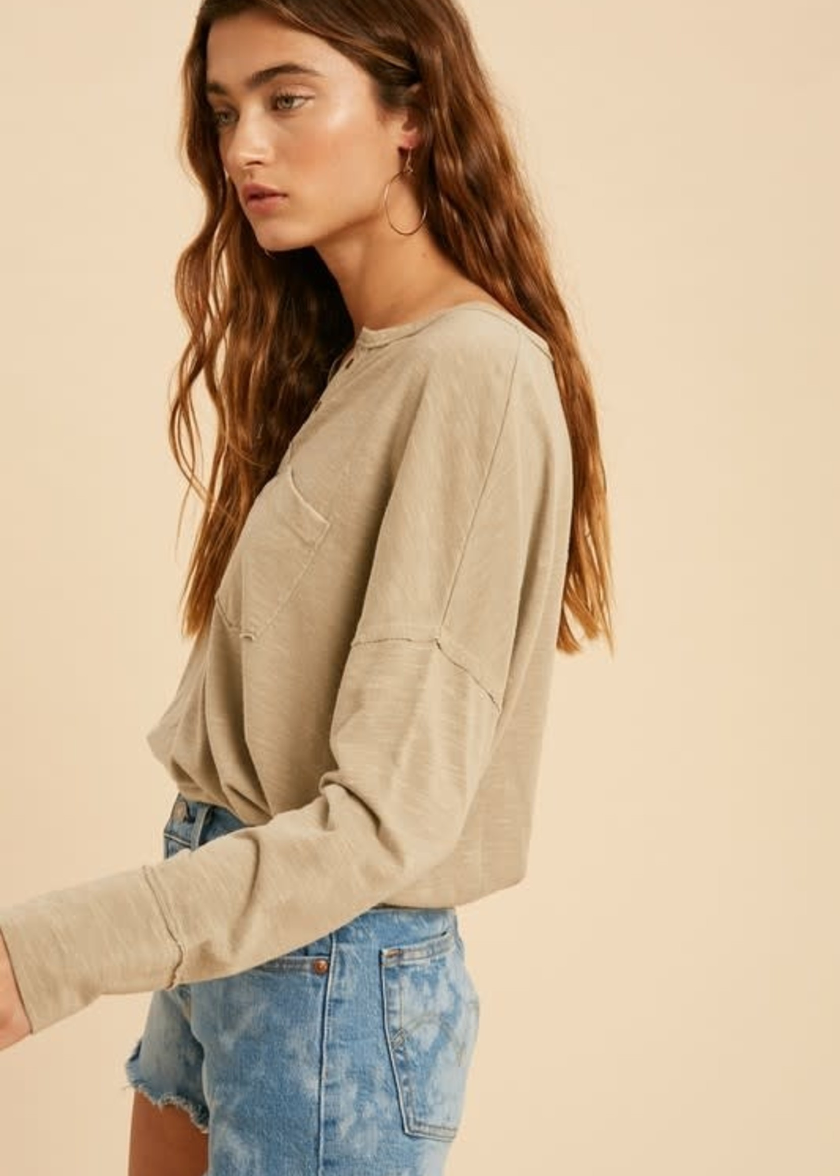 Washed Eyelet Knit Top - Eggshell