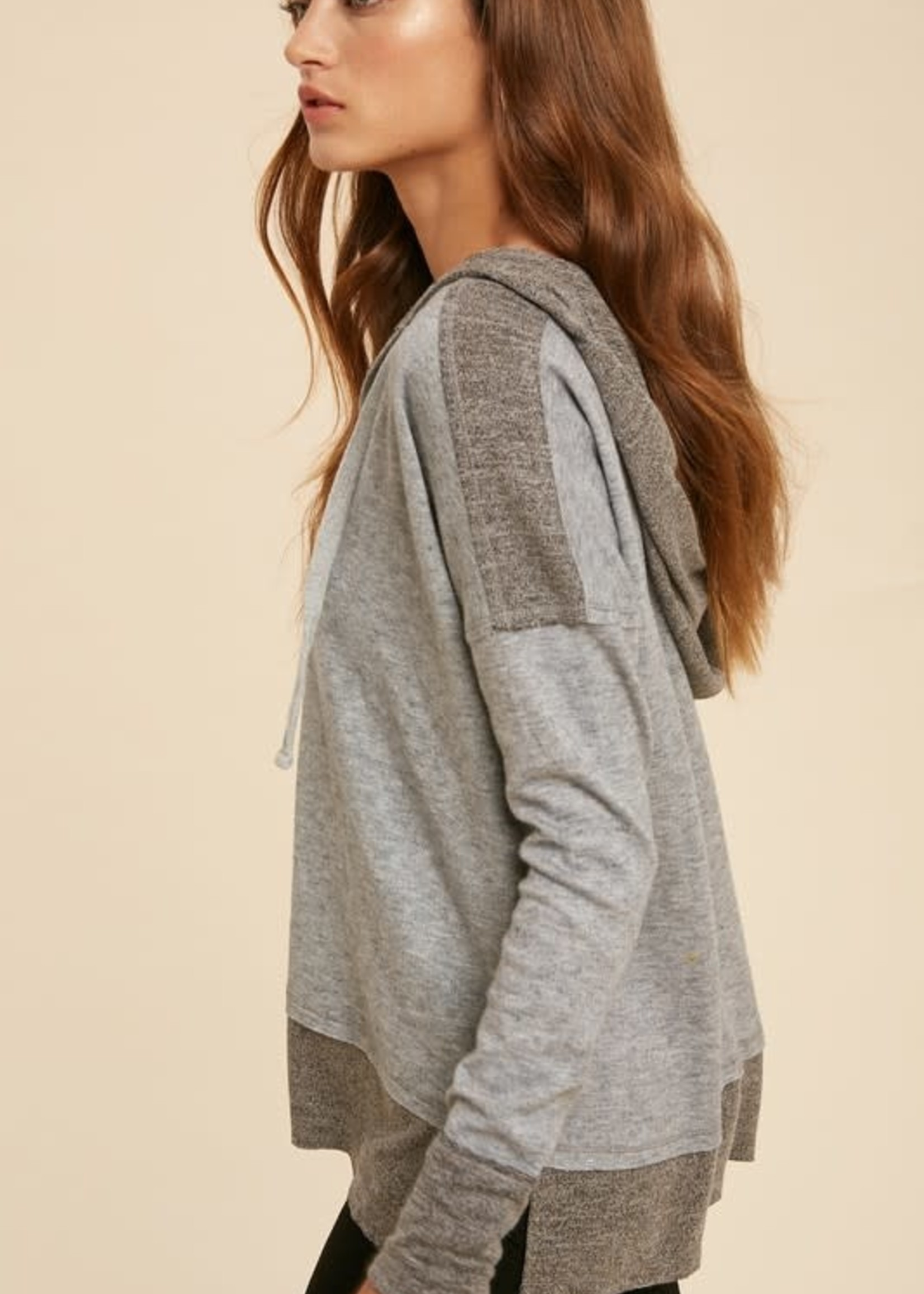 Contrast Hacci Knit Hoodie - Grey