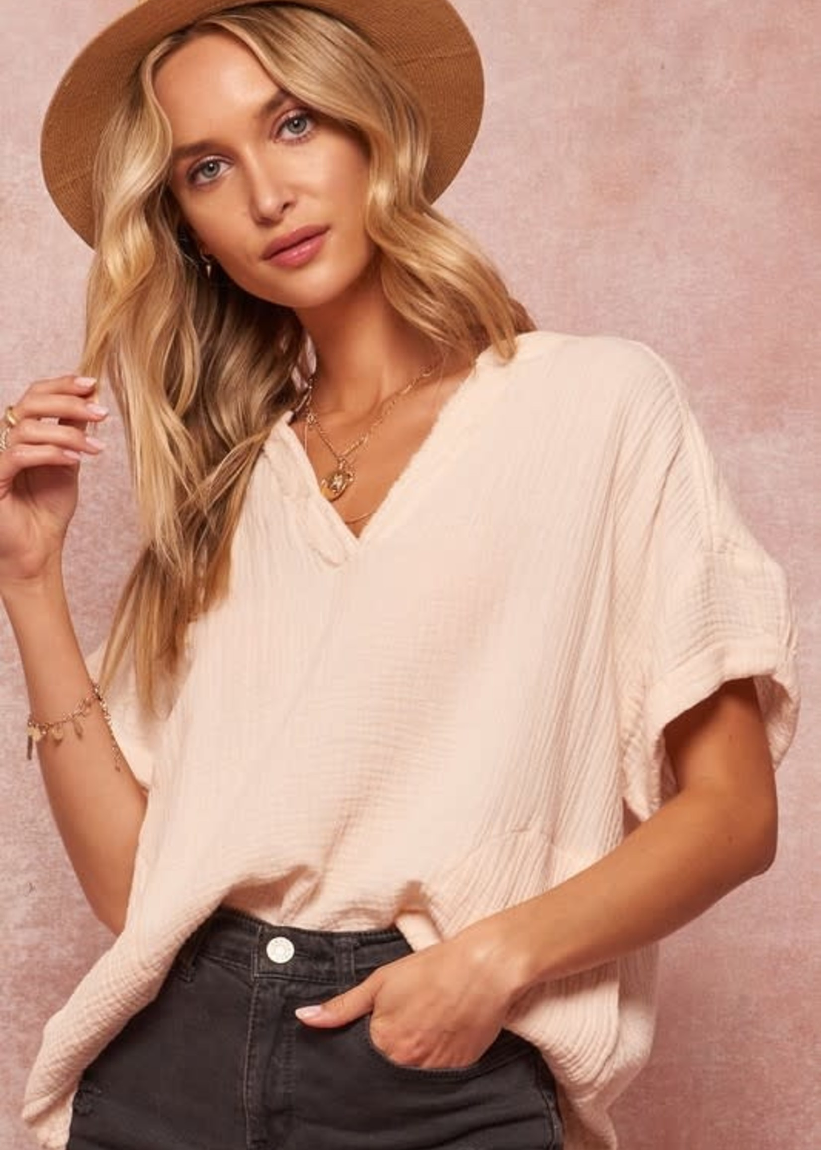 Crinkle Cotton Creme V Neck Top - Cream