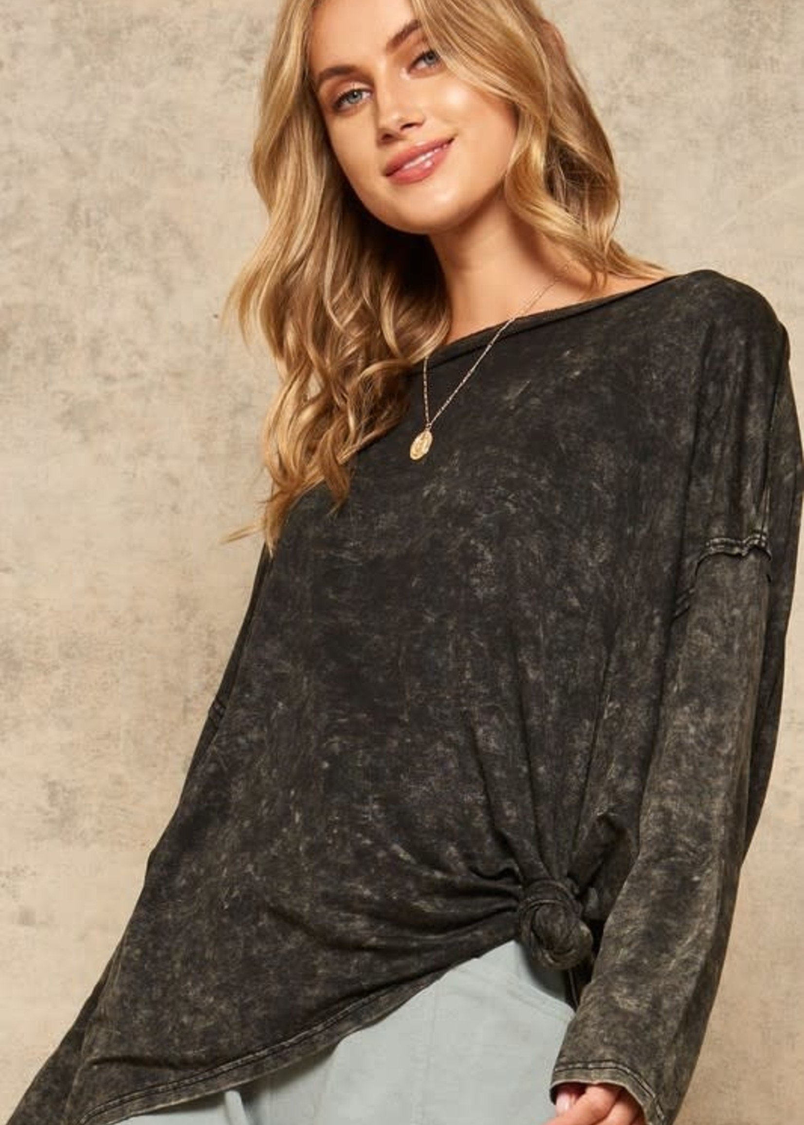 Oversized Mineral Wash Long Sleeve - Charcoal