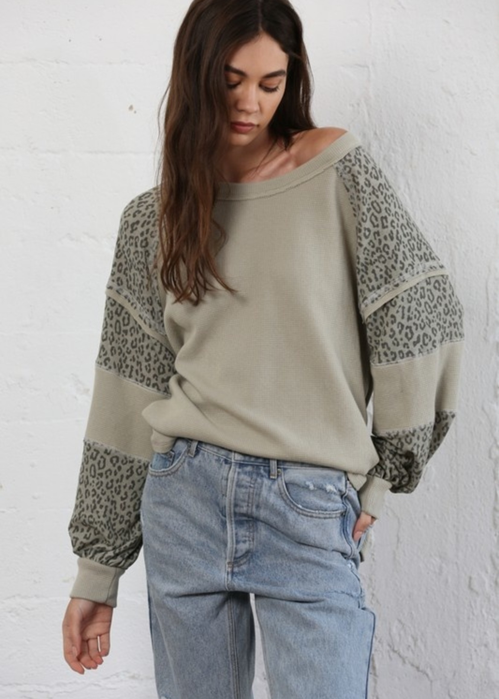 Thermal with Leopard Sleeves - Sage