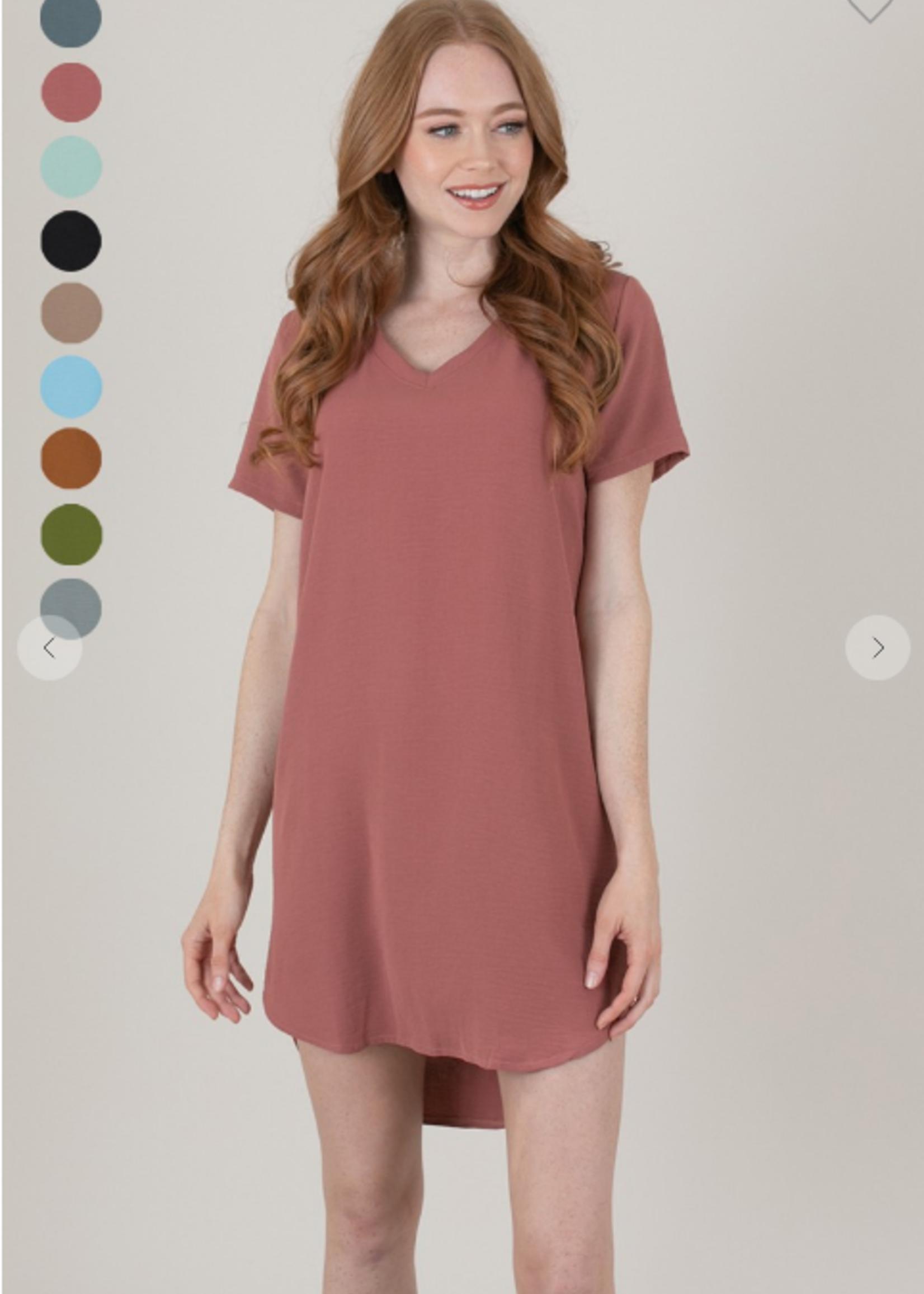 Woven V Neck Dress - Mauve