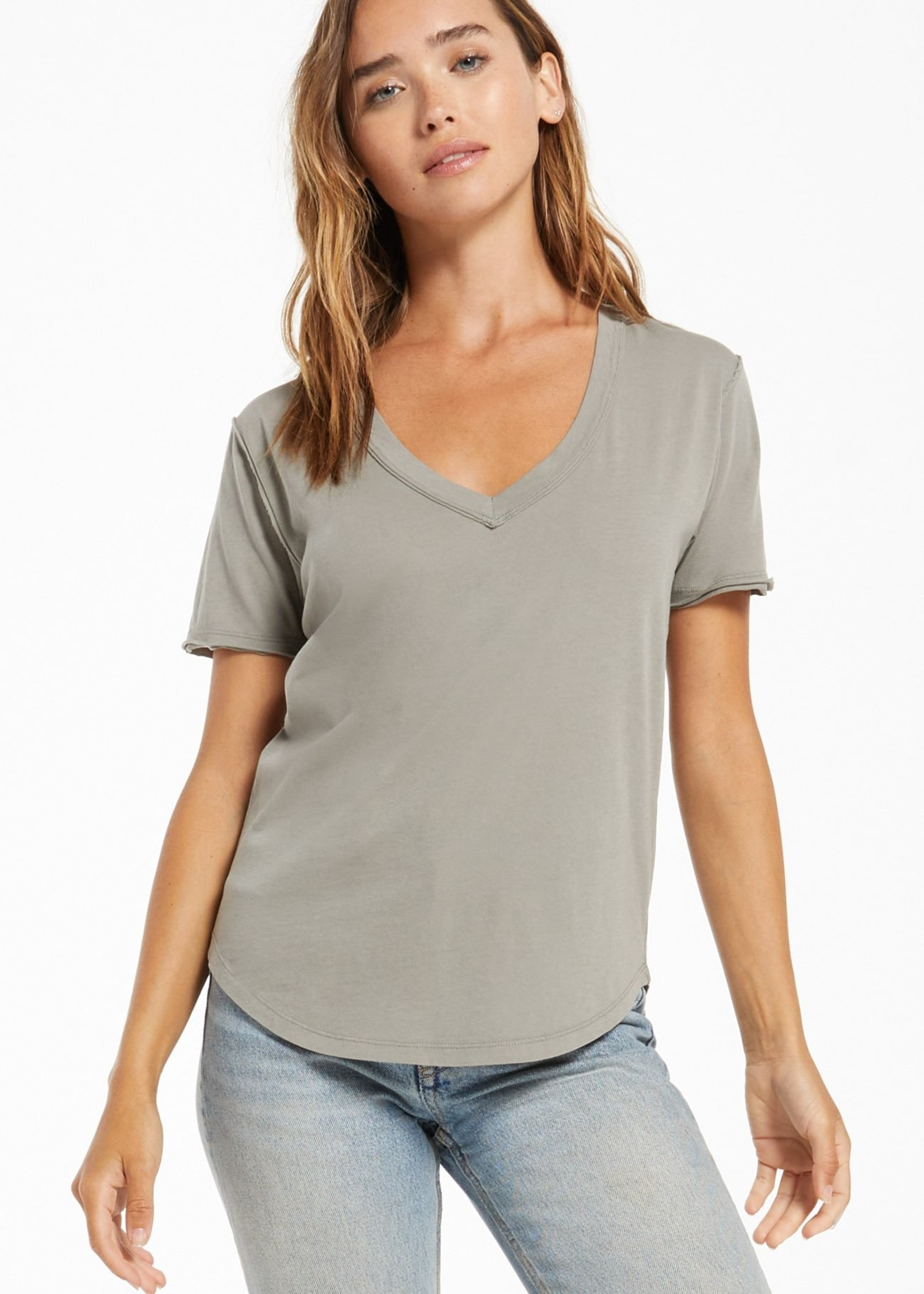 Z Supply Organic Cotton V Neck Tee - Dusty Sage