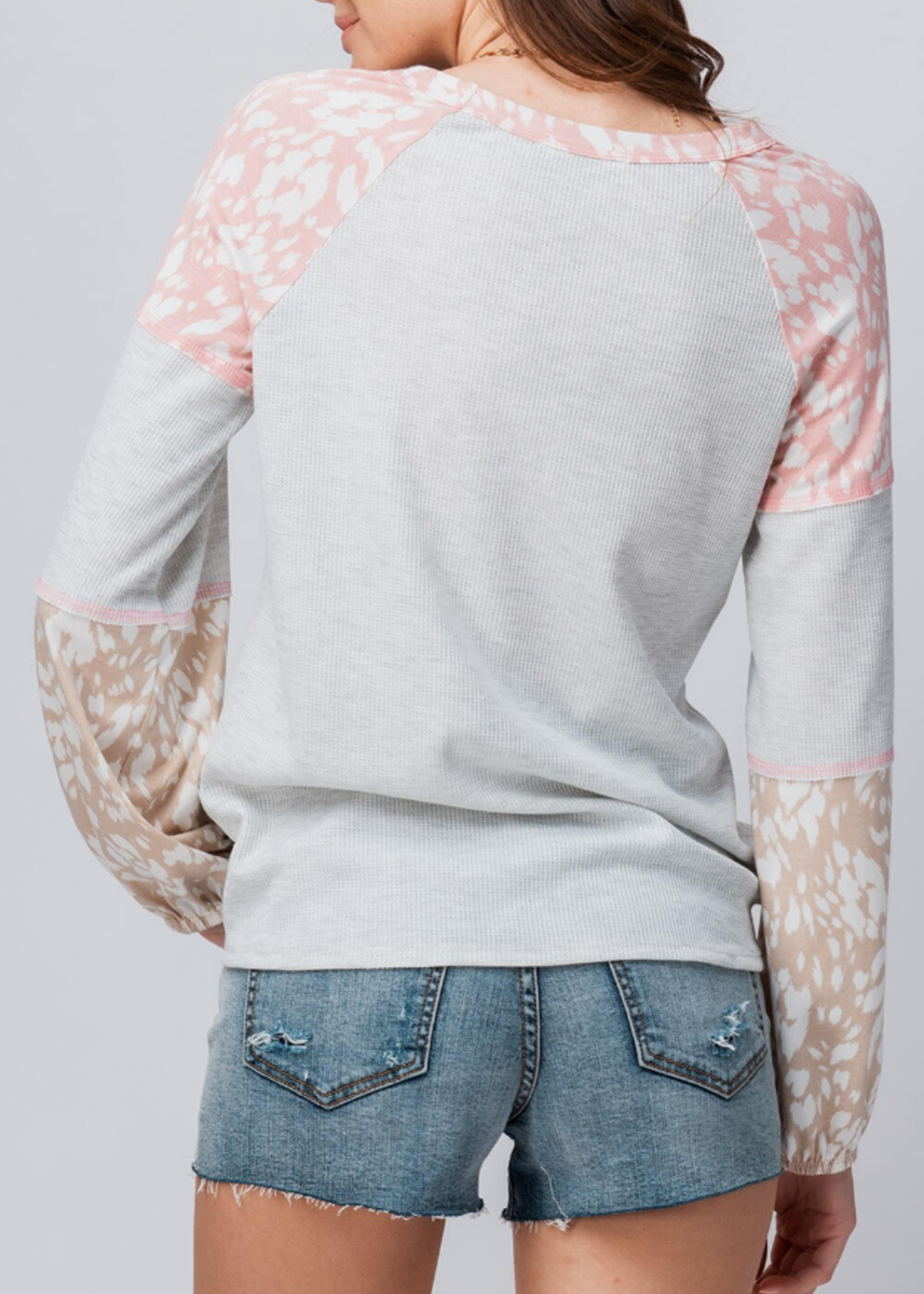 Thermal Knit Color Block - Heather