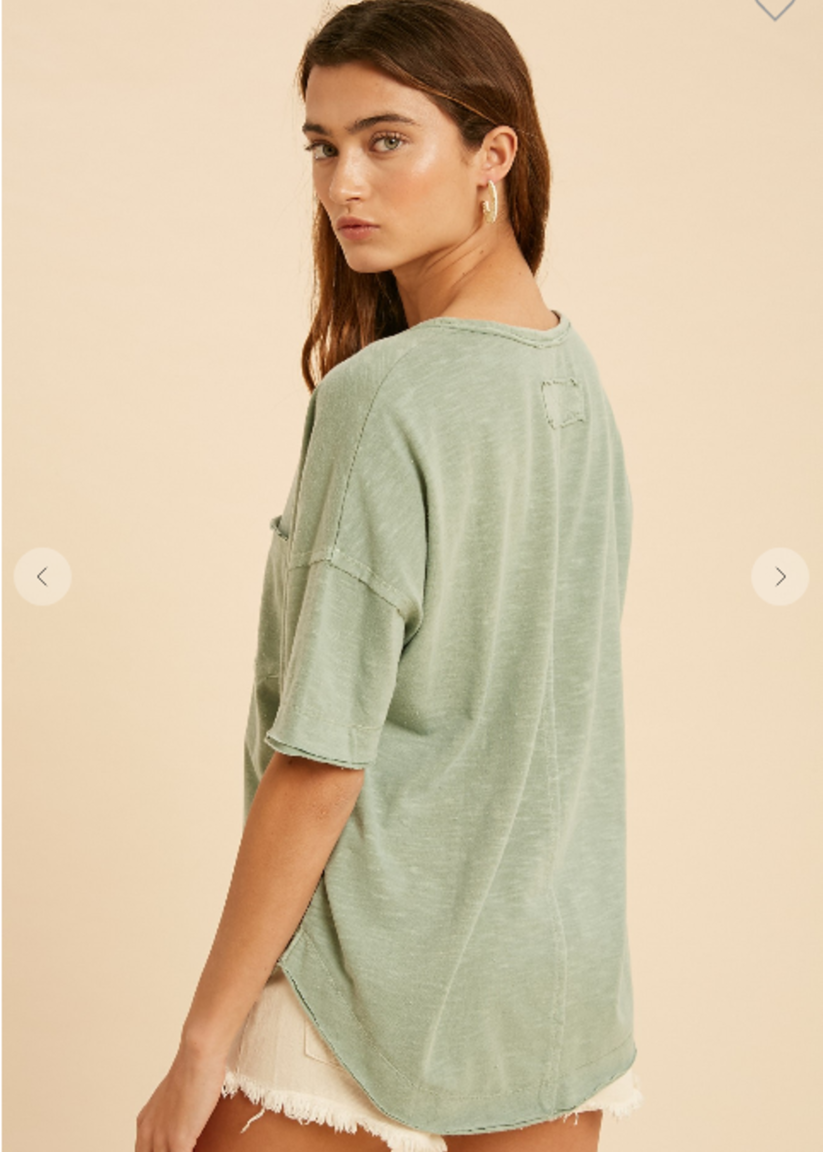 Washed Henley Top - Sage