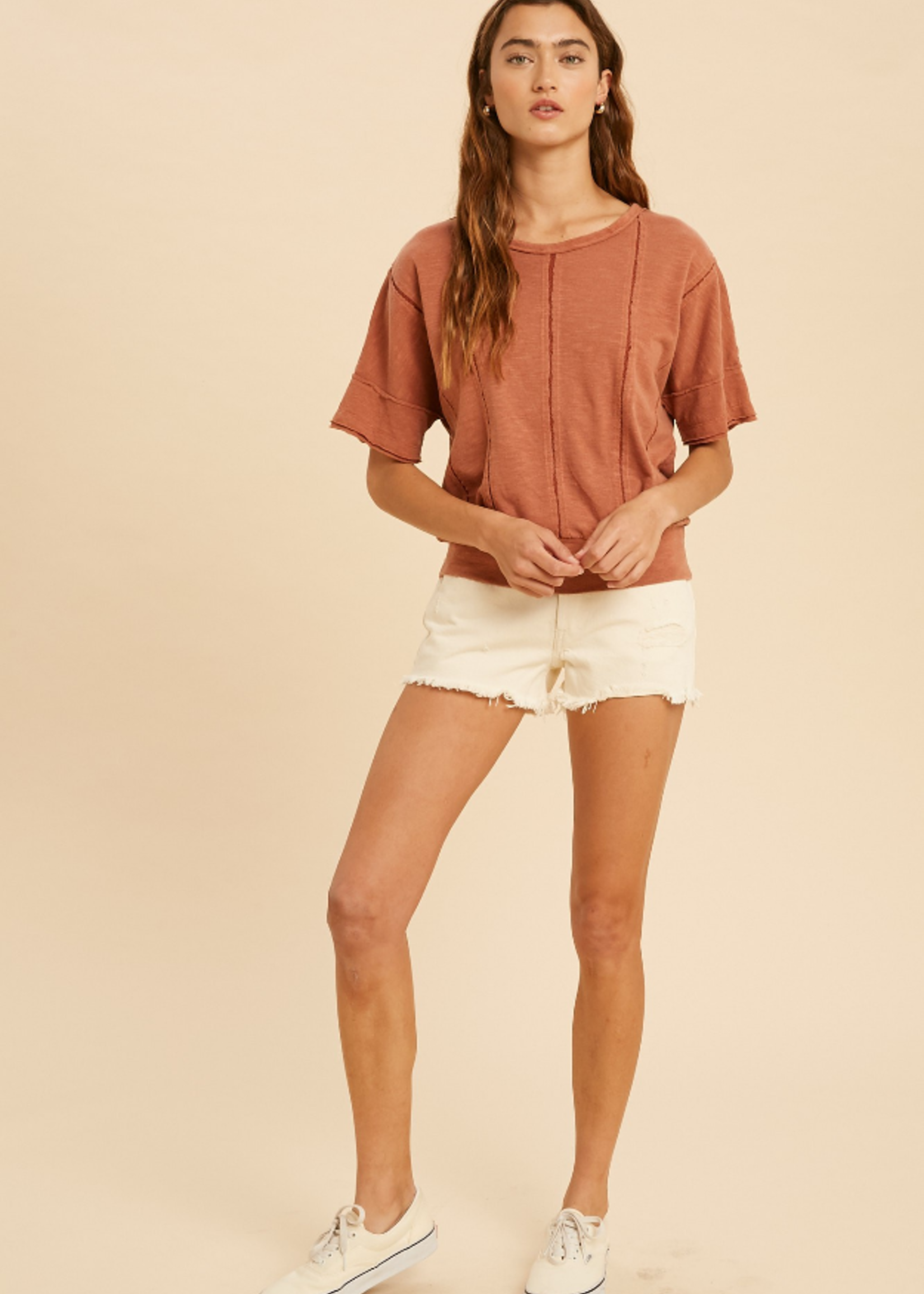 Washed Lace Inset Smocked Tee - Claypot