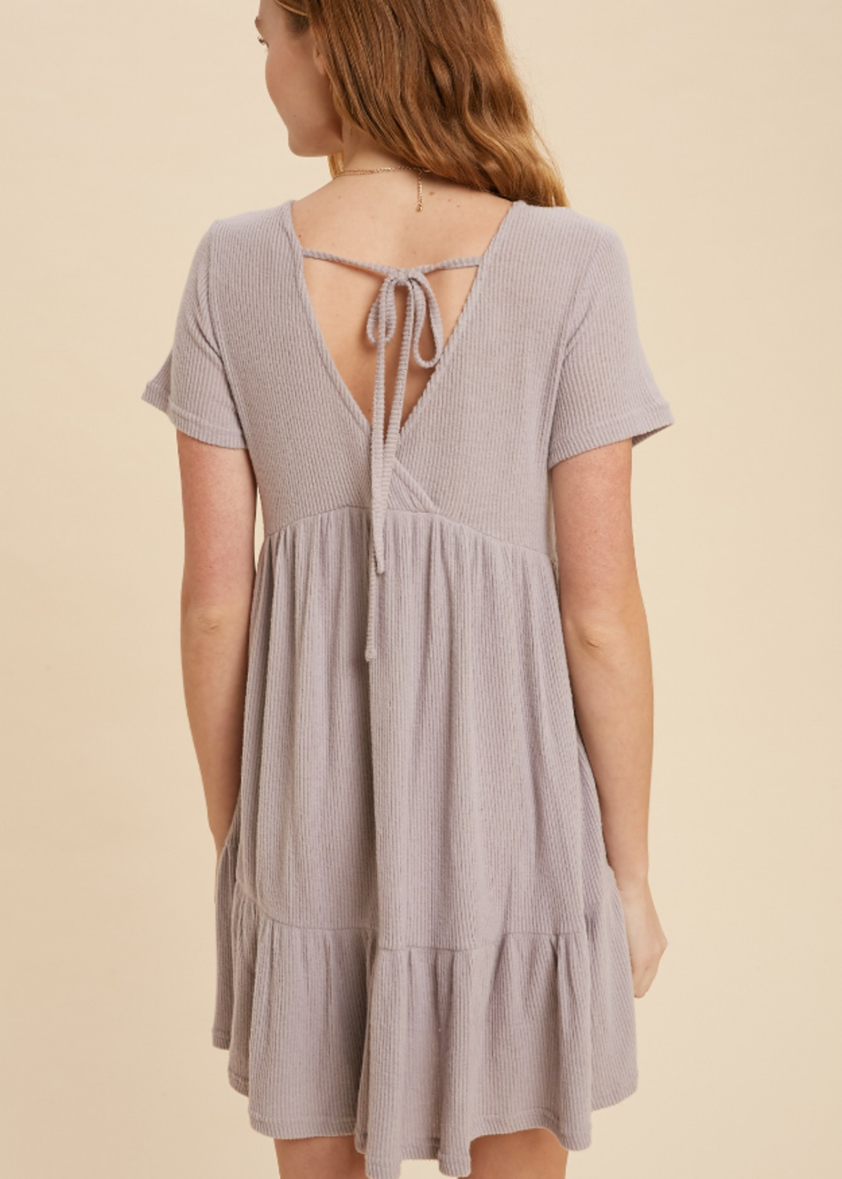 Ribbed Hacci Dress - Lilac