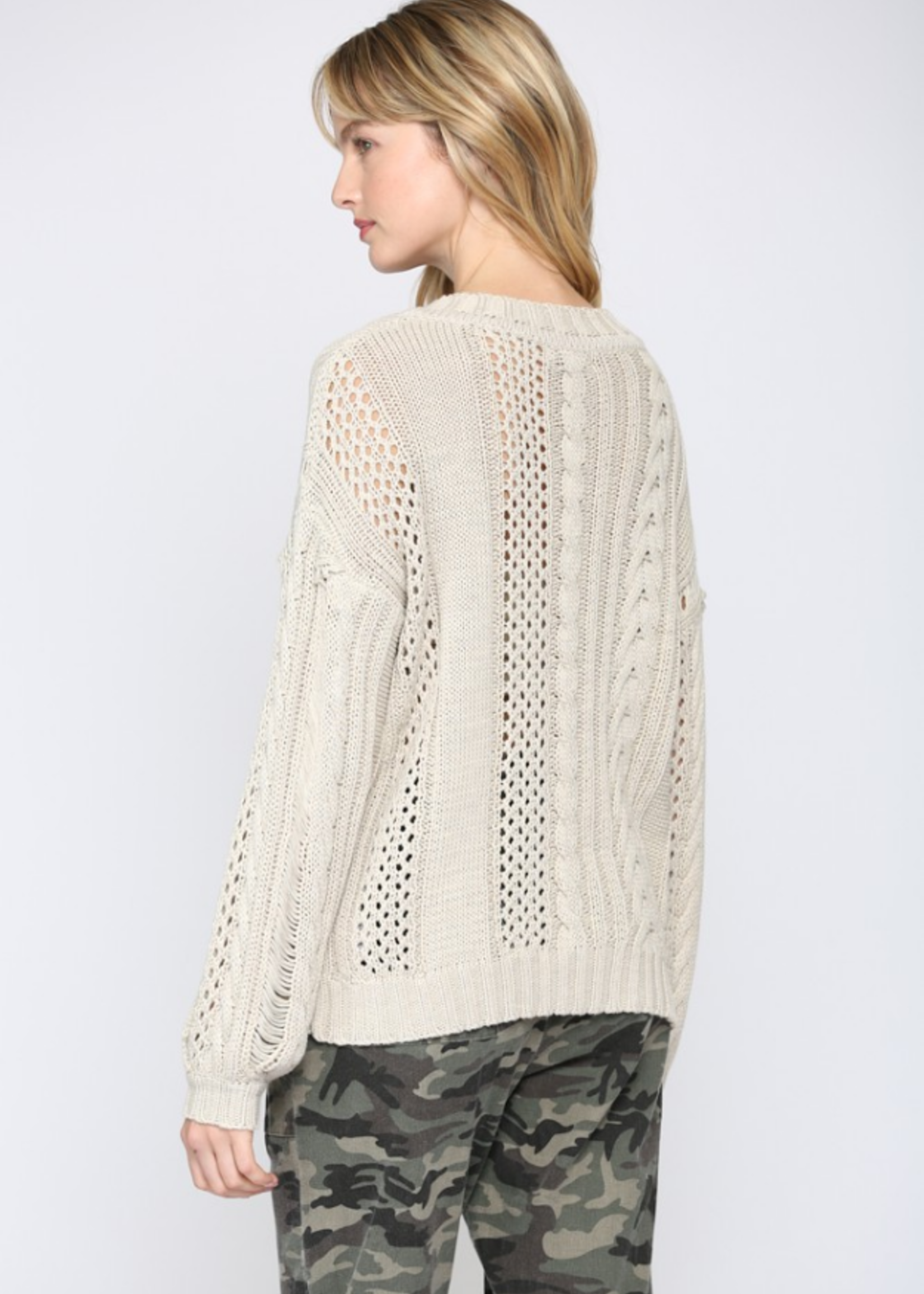 Cable Distressed Sweater - Oatmeal