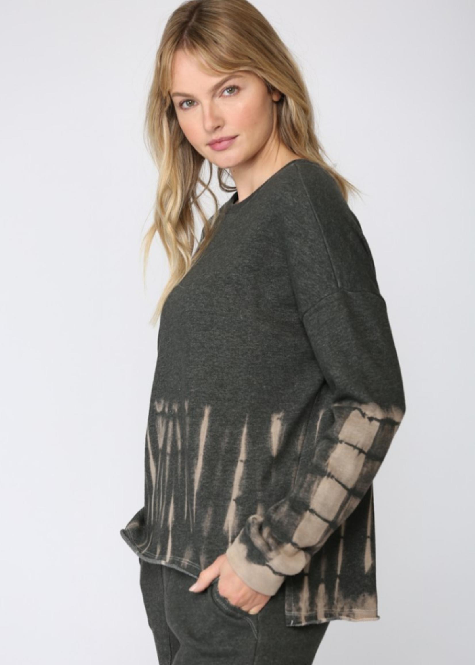 Bleached Tie Dye Sweatshirt - Charcoal