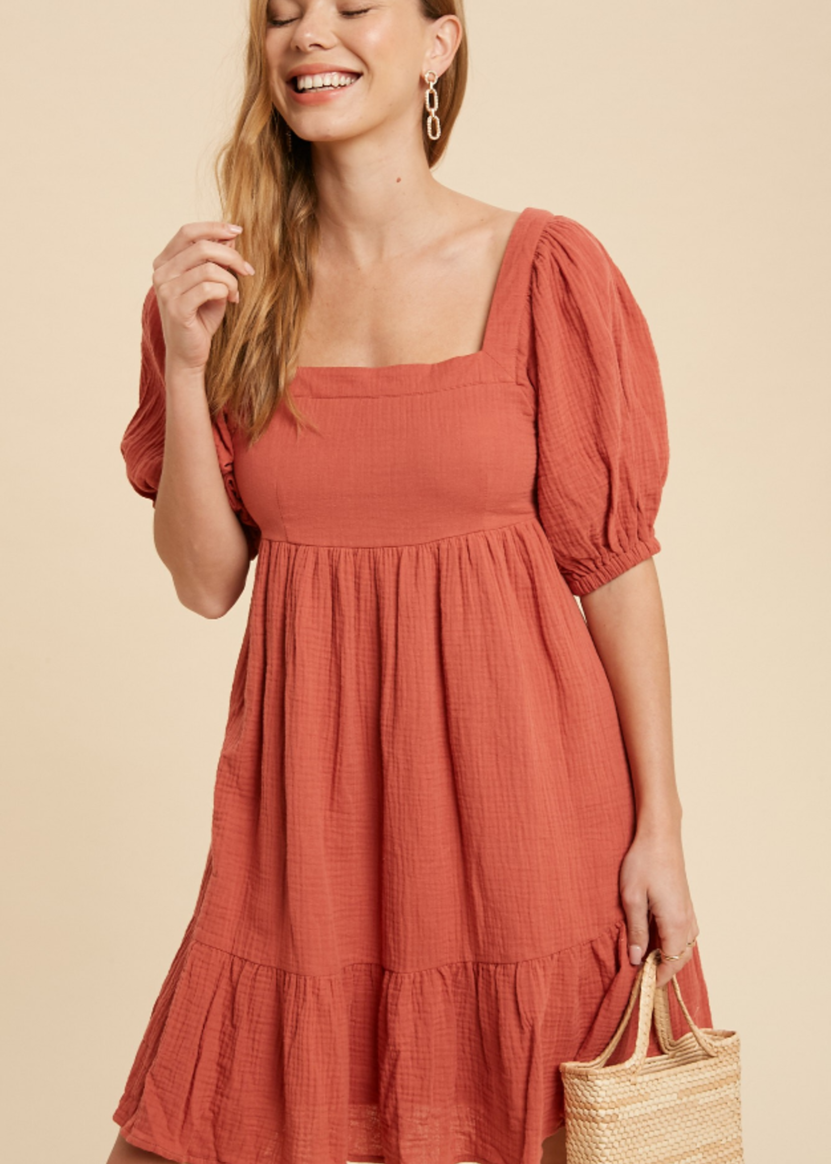 Cotton Gauze Babydoll Dress - Coral