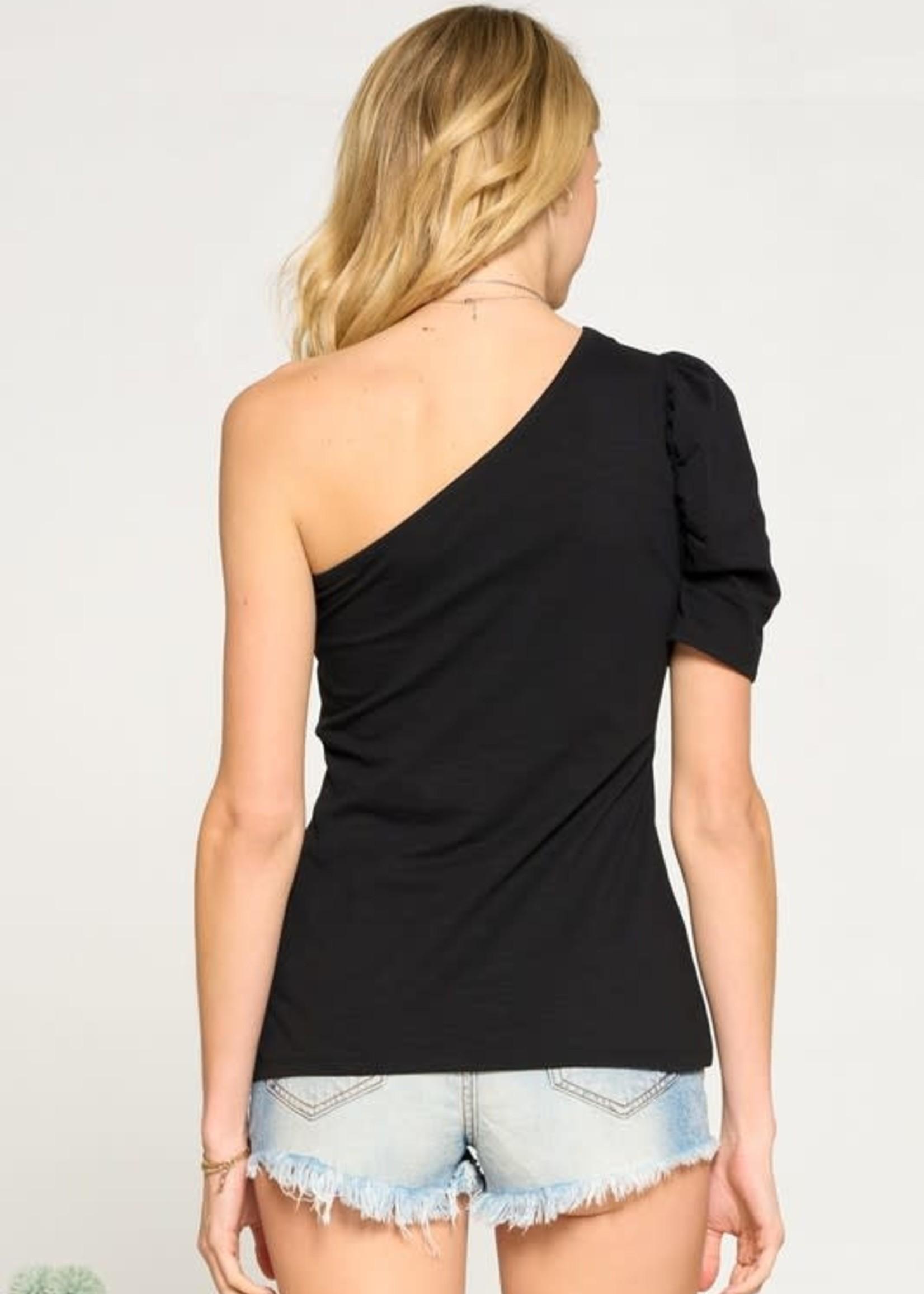 One Shoulder Puff Sleeve Tee - Black