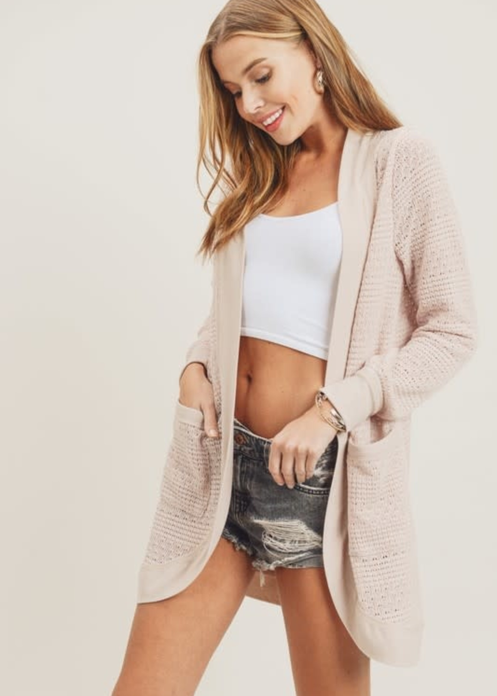Cardigan with Ribbed Trim - Blush