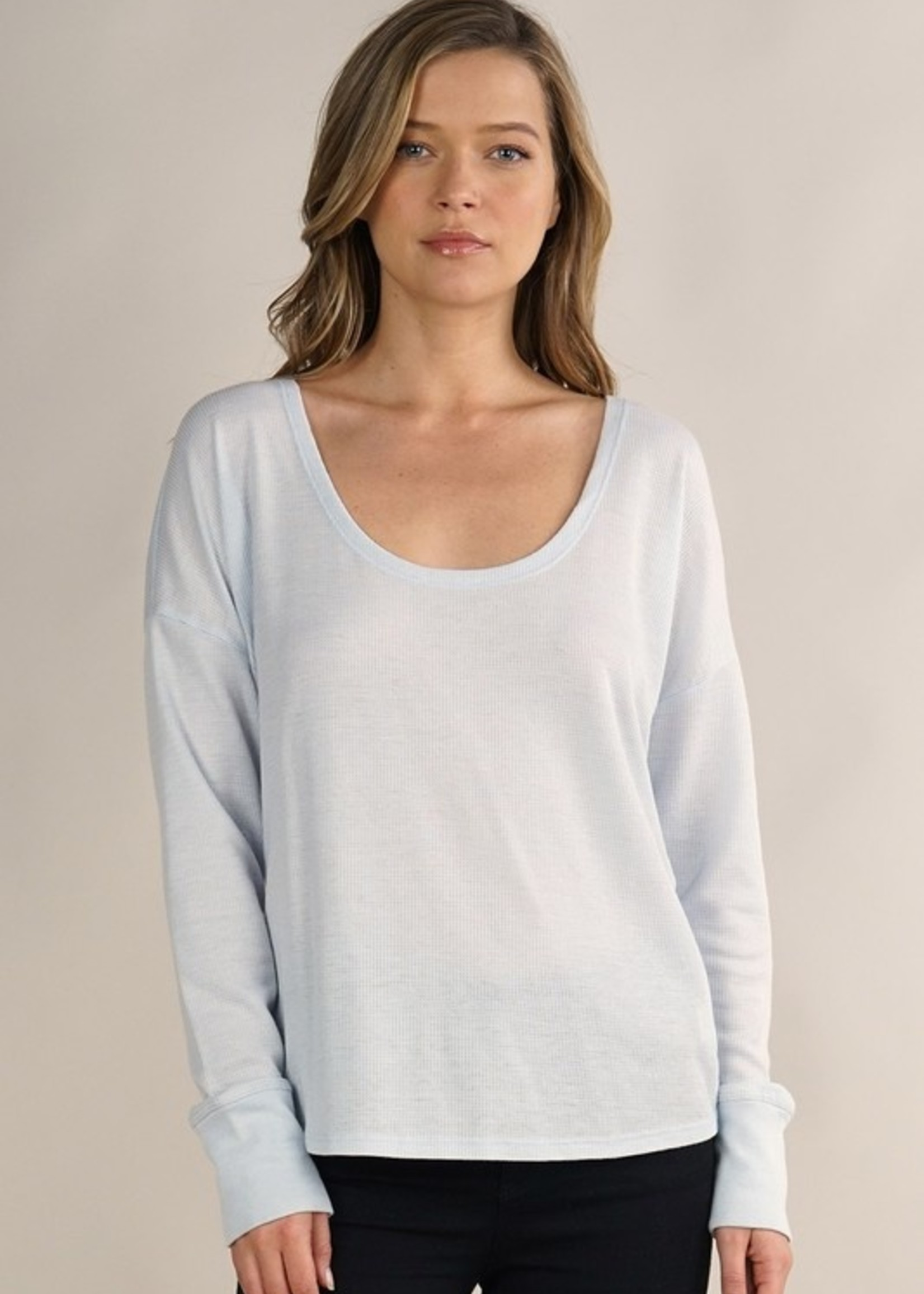 Long Sleeve Open Back Thermal - Blue
