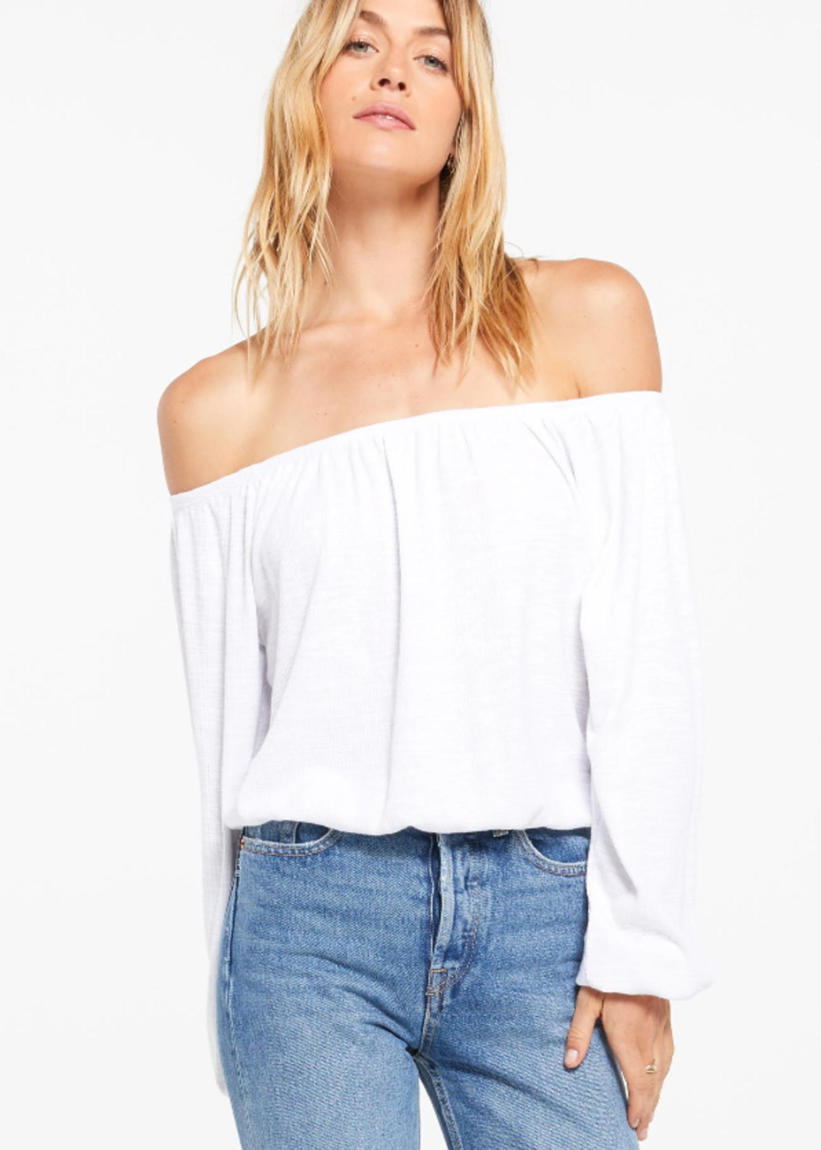 Z Supply Liv Slub Off Shoulder Top - White