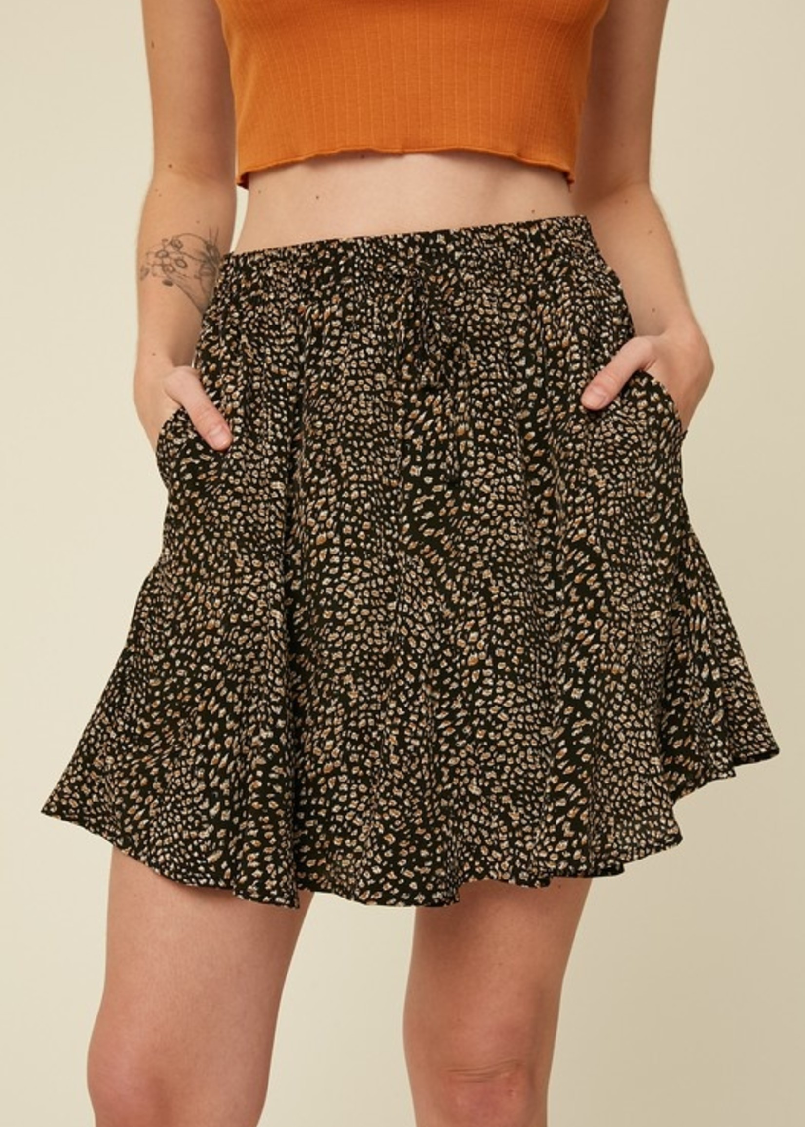 Leopard Print Skirt -Black