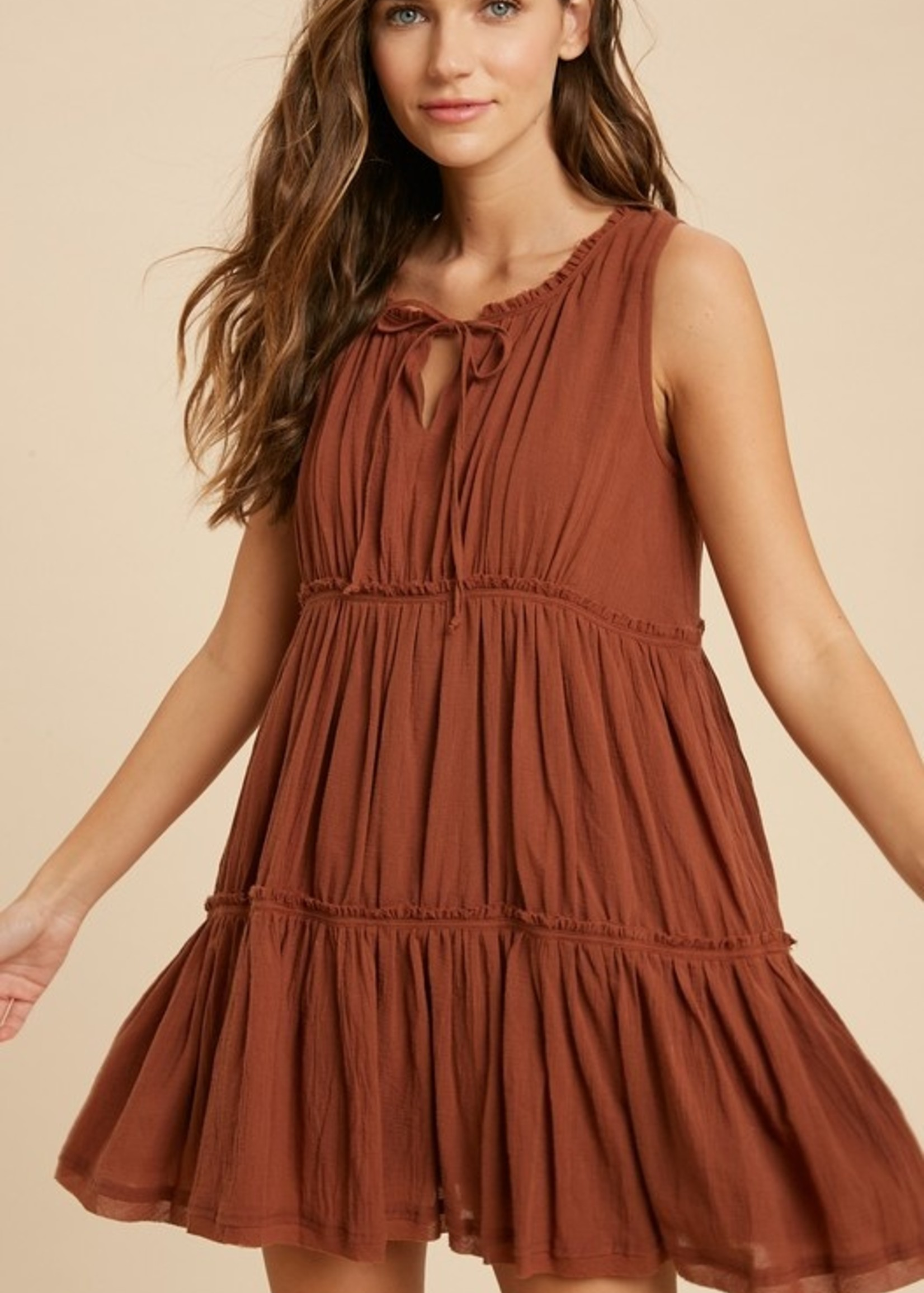 Tiered Sleeveless Dress - Rust