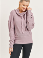Waffle Cowl Neck Pullover - Dusty lavendar