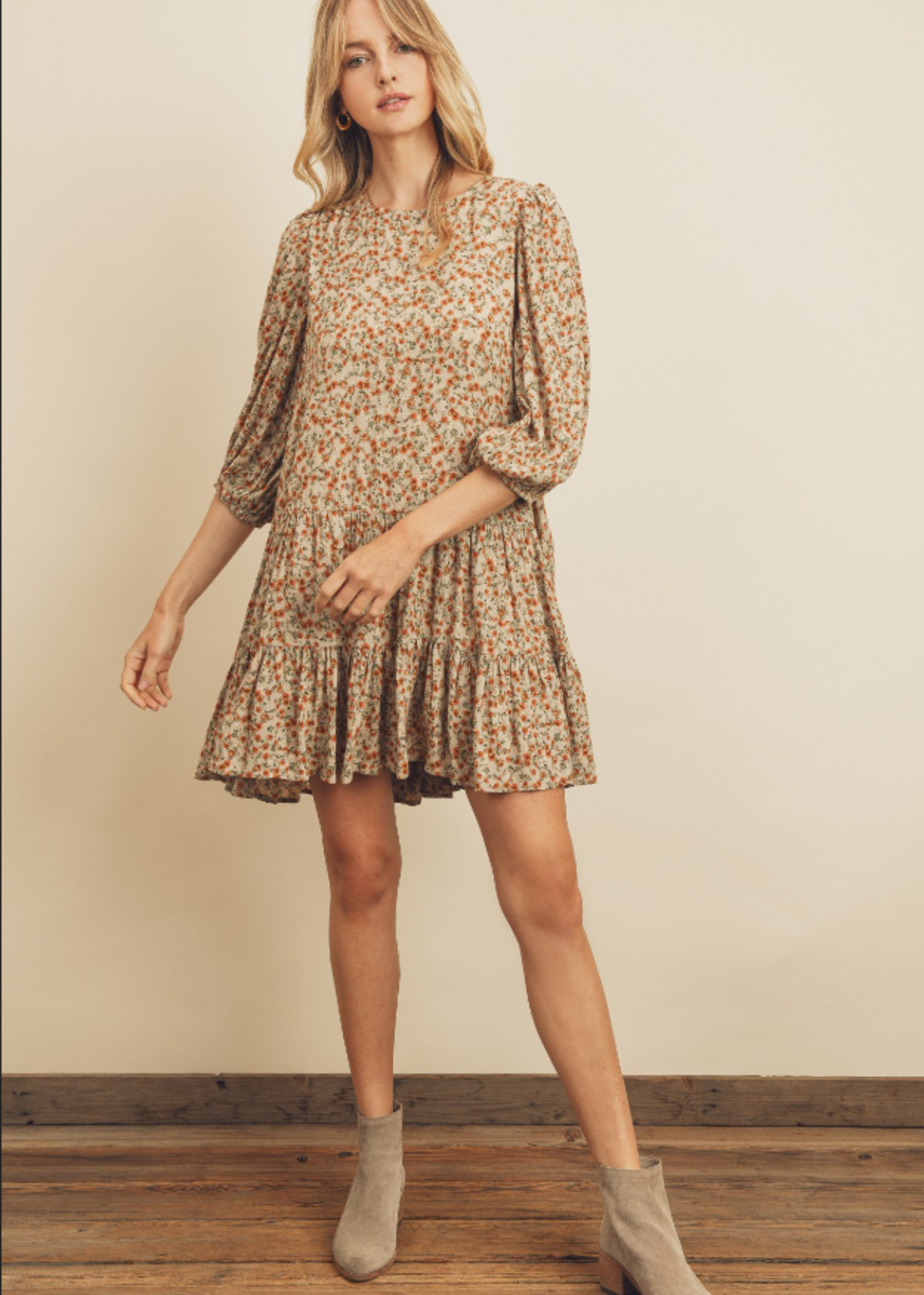 Floral Tiered Dress - Taupe Multi