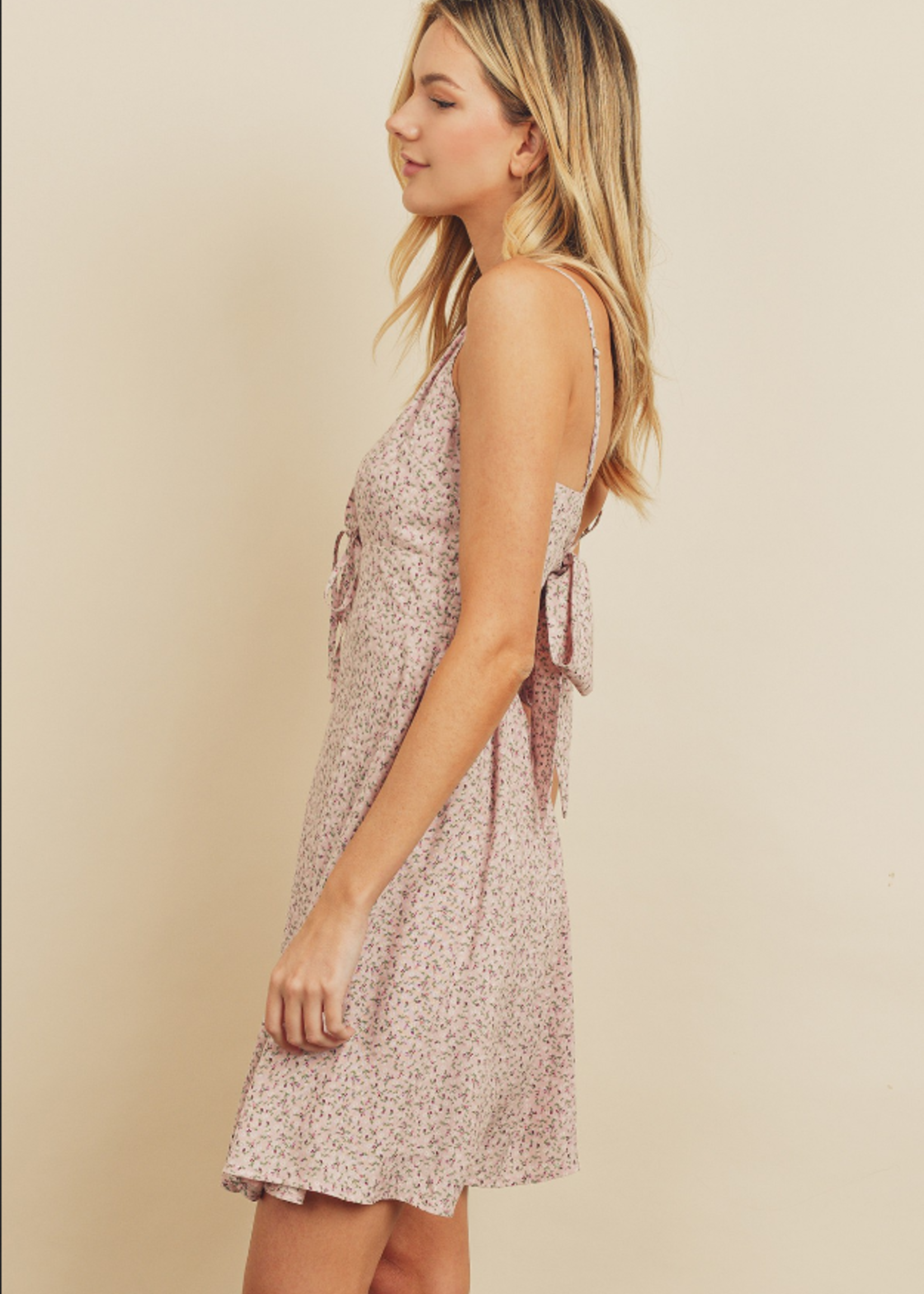 Ditsy Floral Dress w/tie - Pink Multi