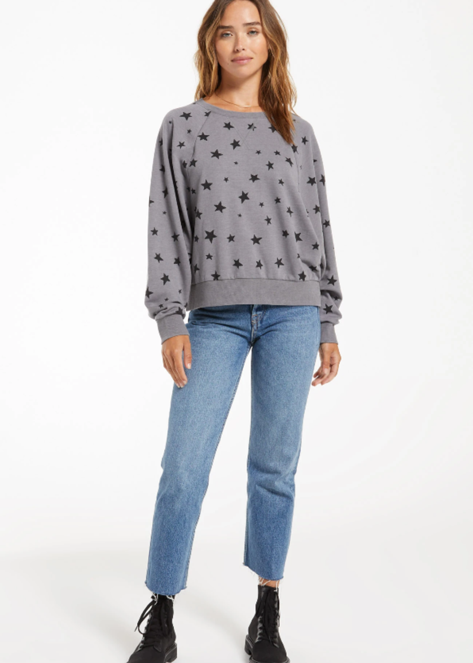 Z Supply Marella Star Pullover - Charcoal