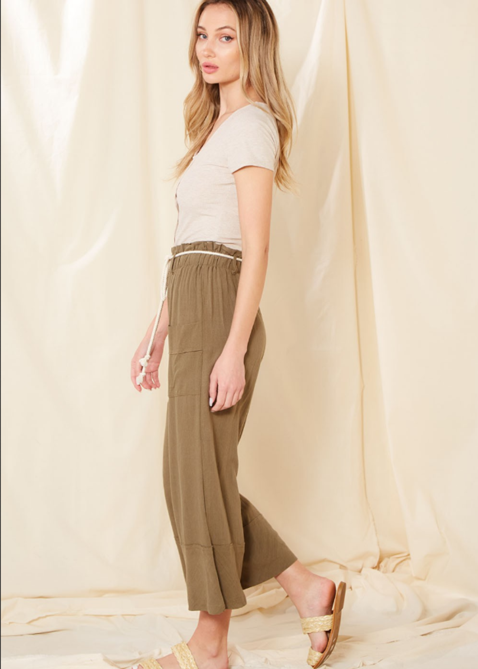 Ribbed Top with Buttons - Oatmeal