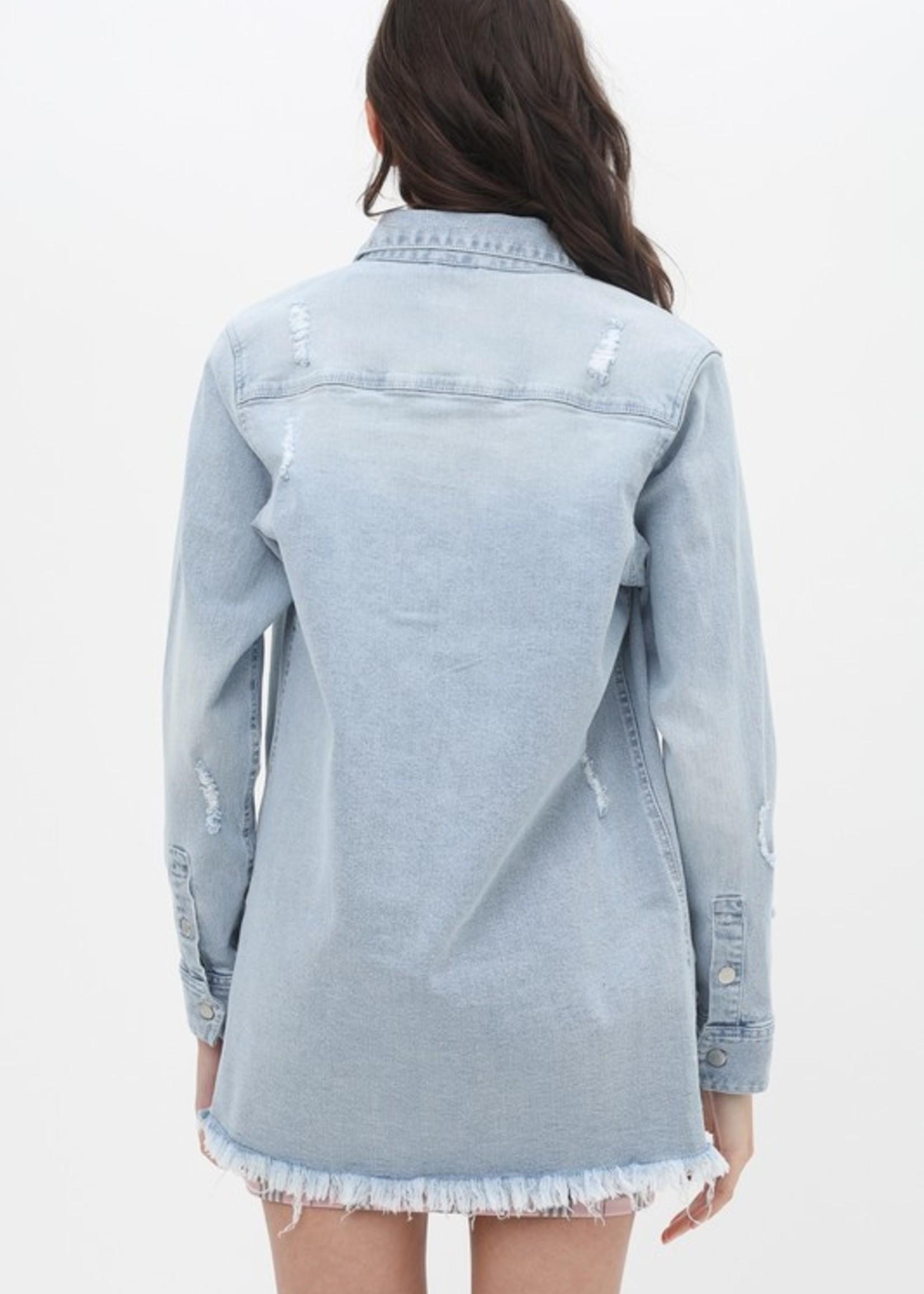 Button Up Shirt Jacket - Light Blue