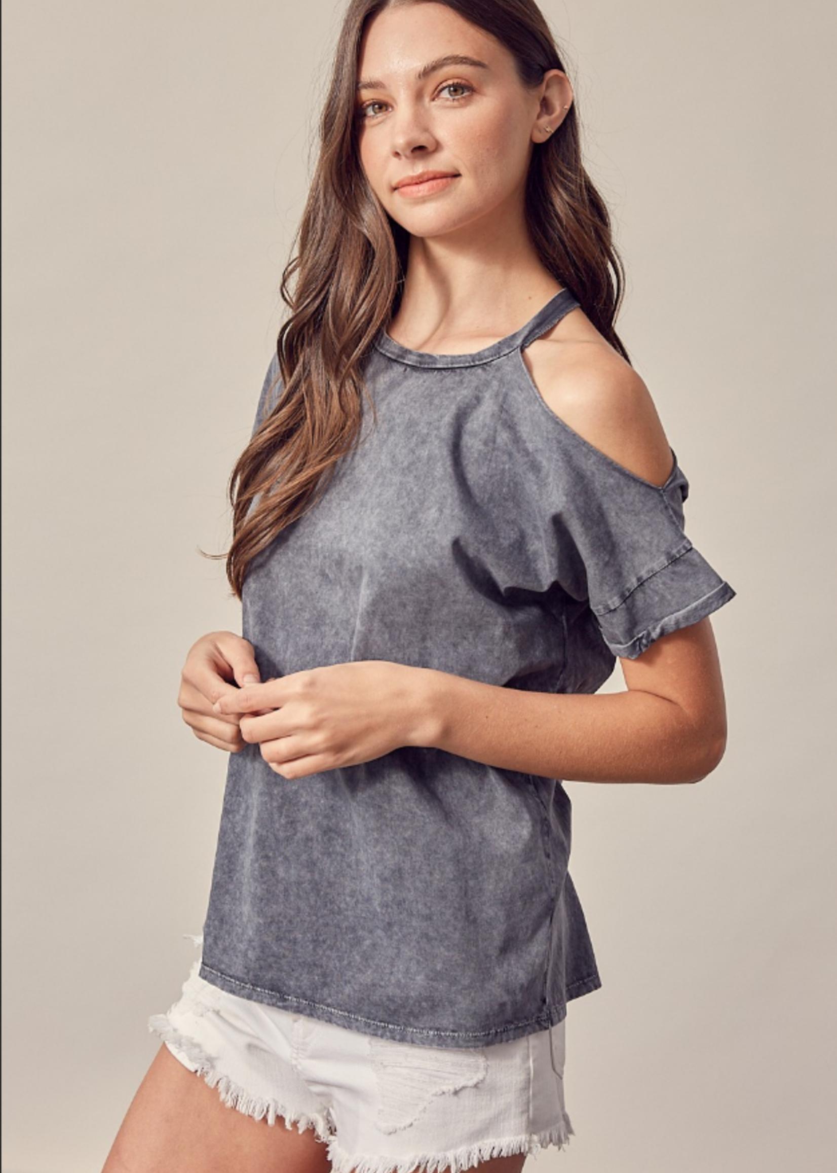 One Open Shoulder Top - Ashed Grey
