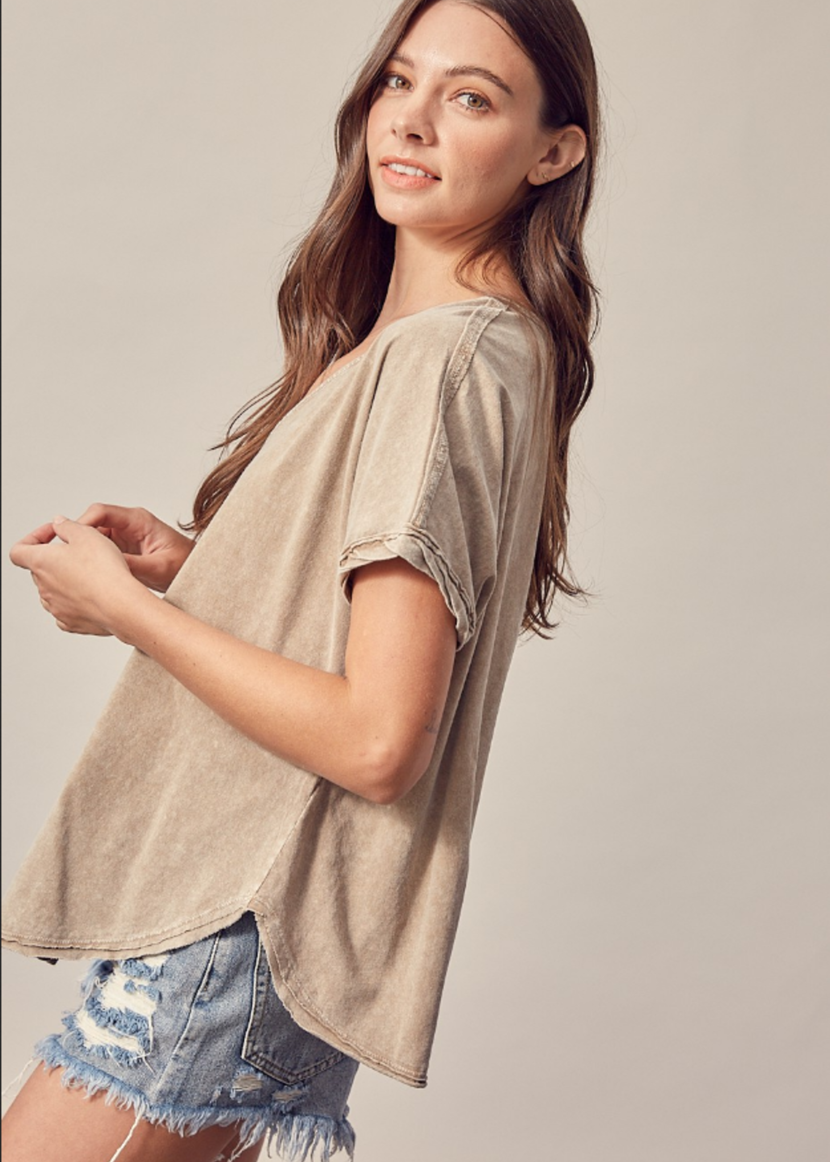 V Neck Button up Top - Washed Taupe