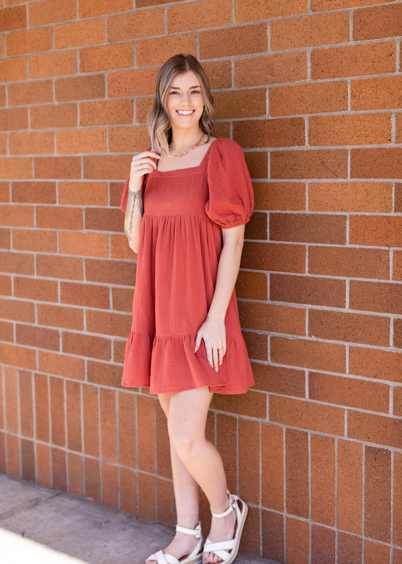 Cotton Gauze Babydoll Dress - Coral