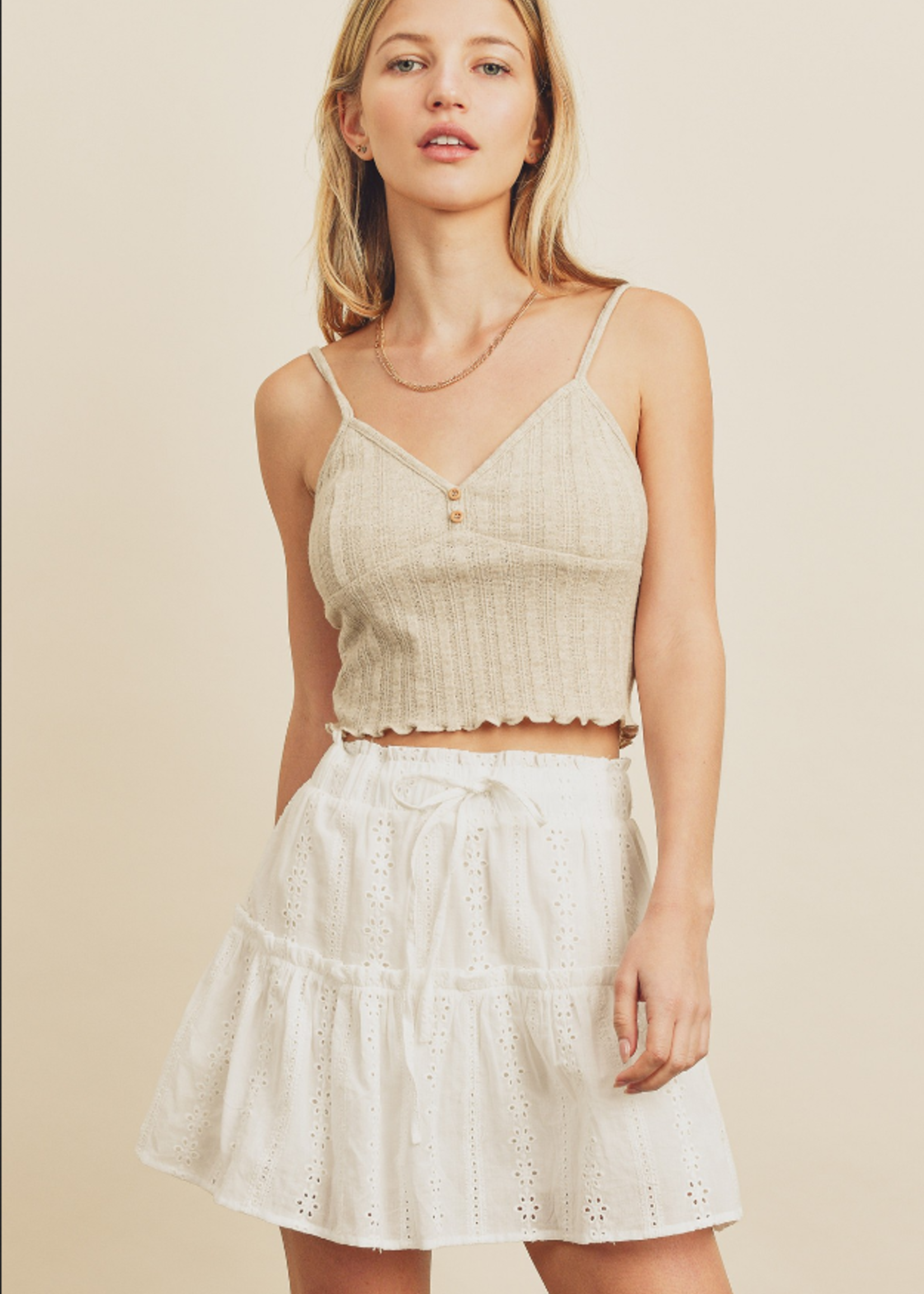 Eyelet Skirt with Lining - White