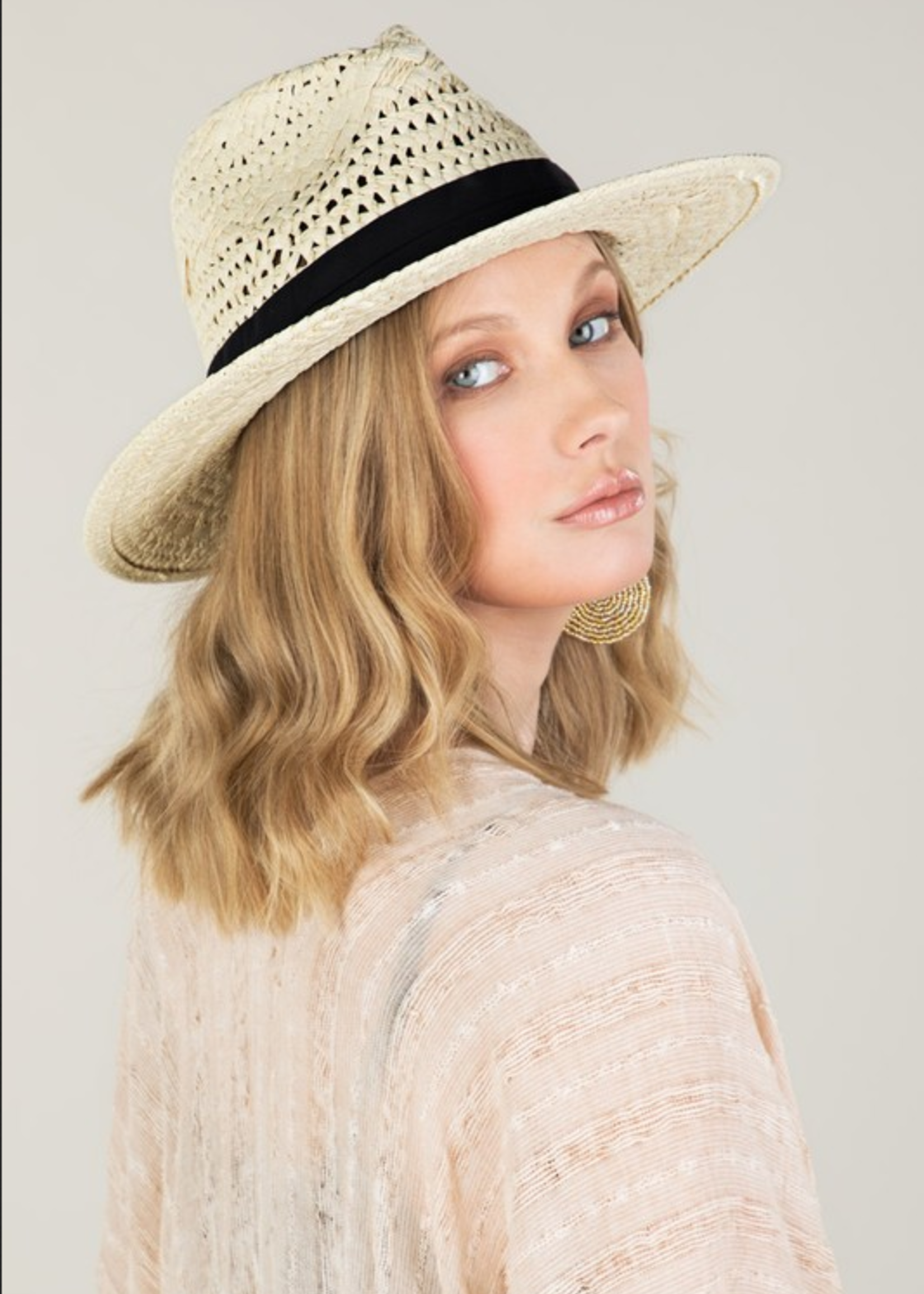 Panama hat with Black Ribbon