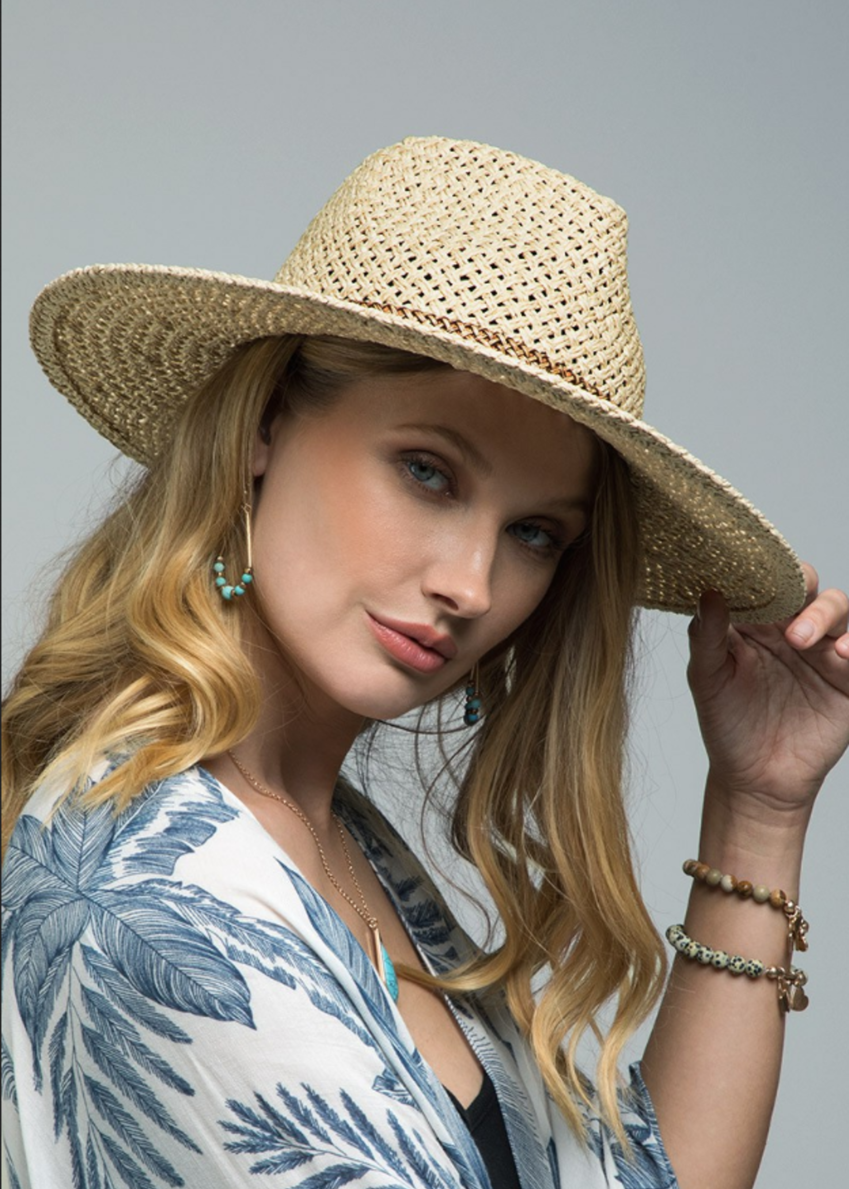 Panama Hat with Bead Trim
