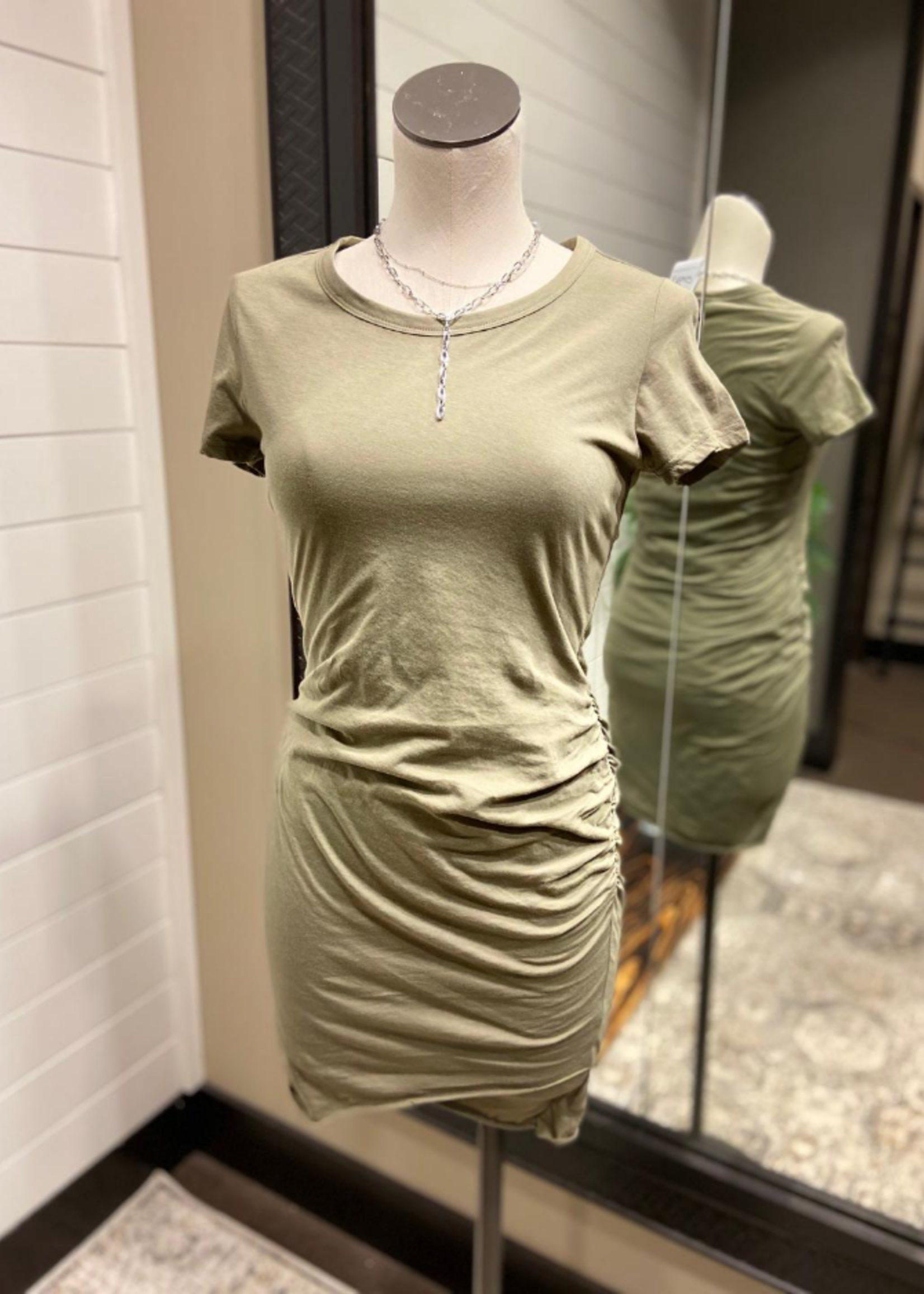 Side Rouched Tee Shirt Dress - Olive