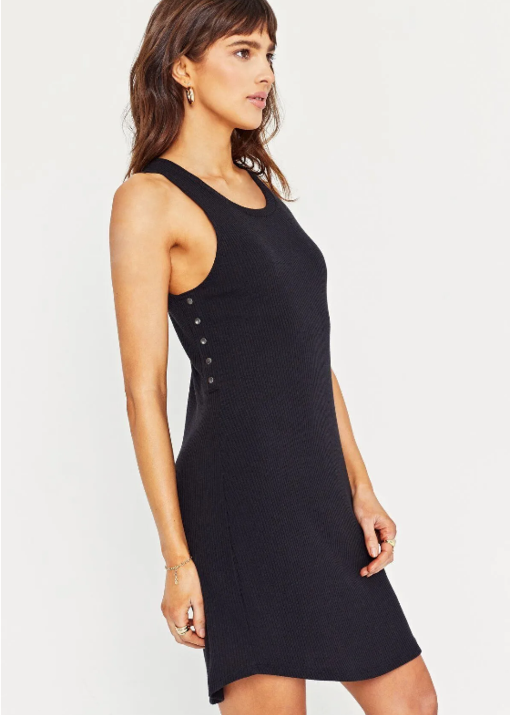 Project Social T Ribbed Side Snap Dress - Black