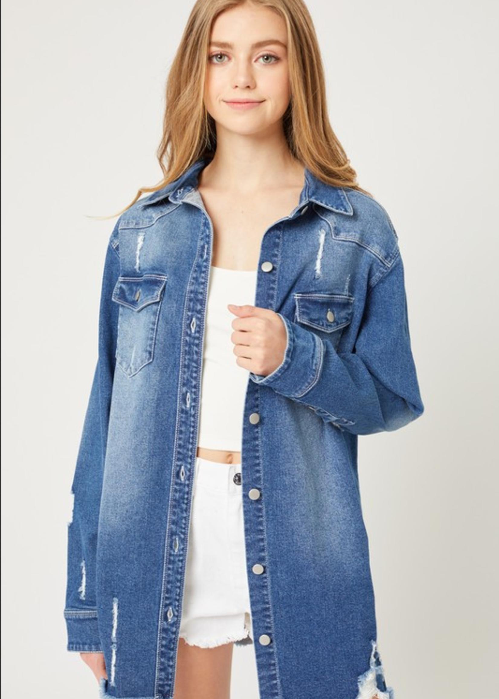 Button Up Shirt Jacket - Medium Blue