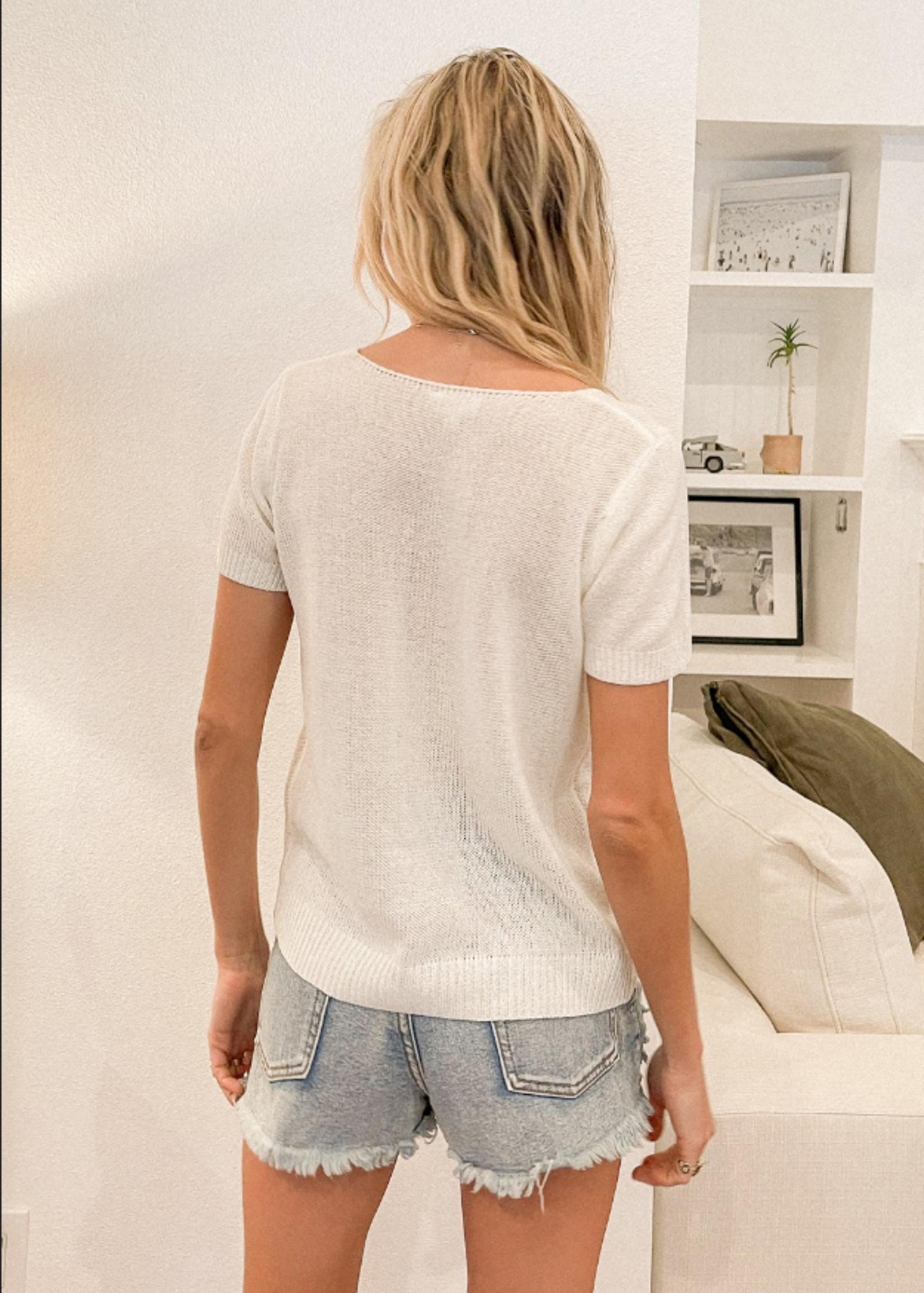 V Neck Twist Front Sweater - Ivory