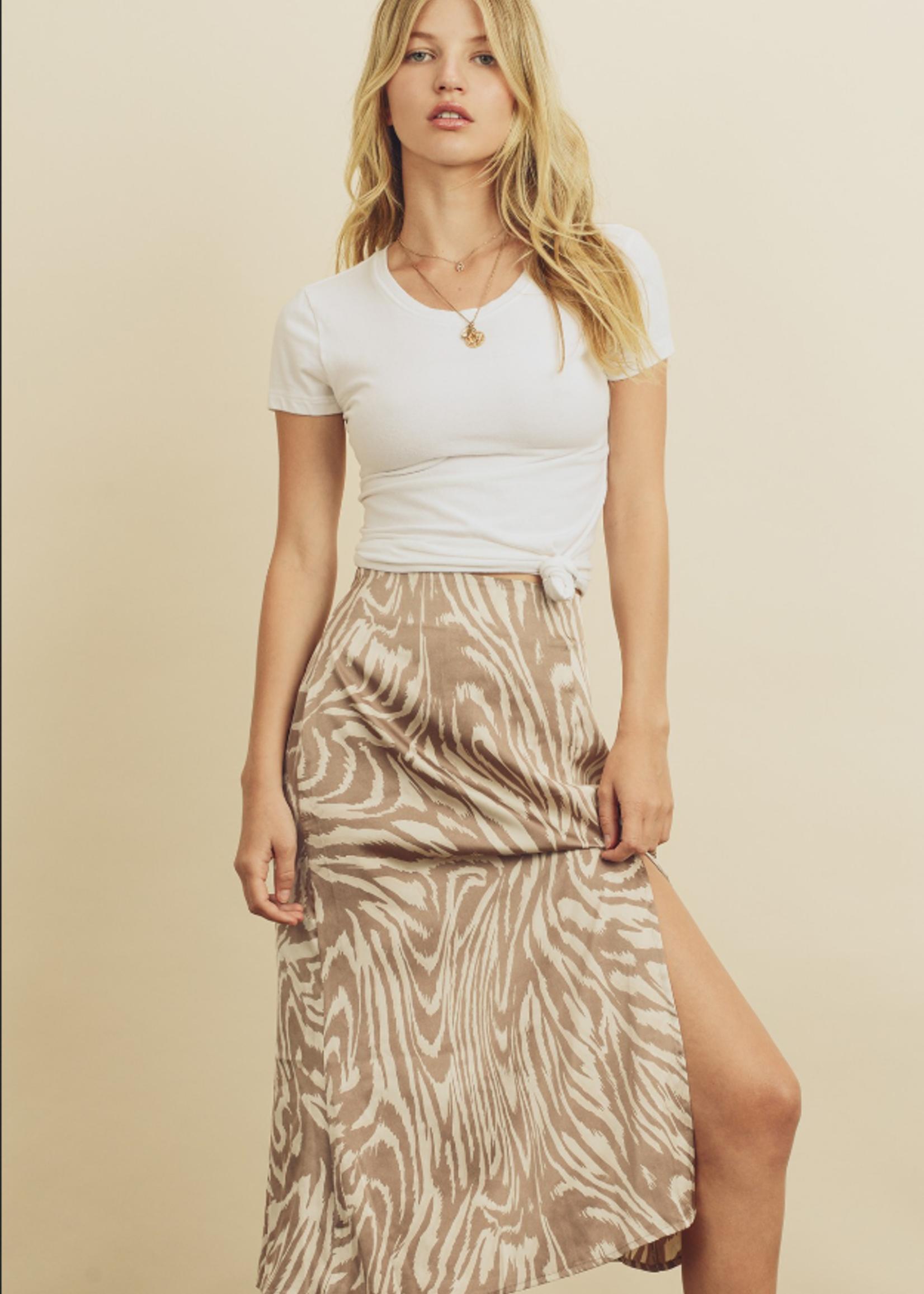 Tiger Print Midi Skirt - Light Mauve
