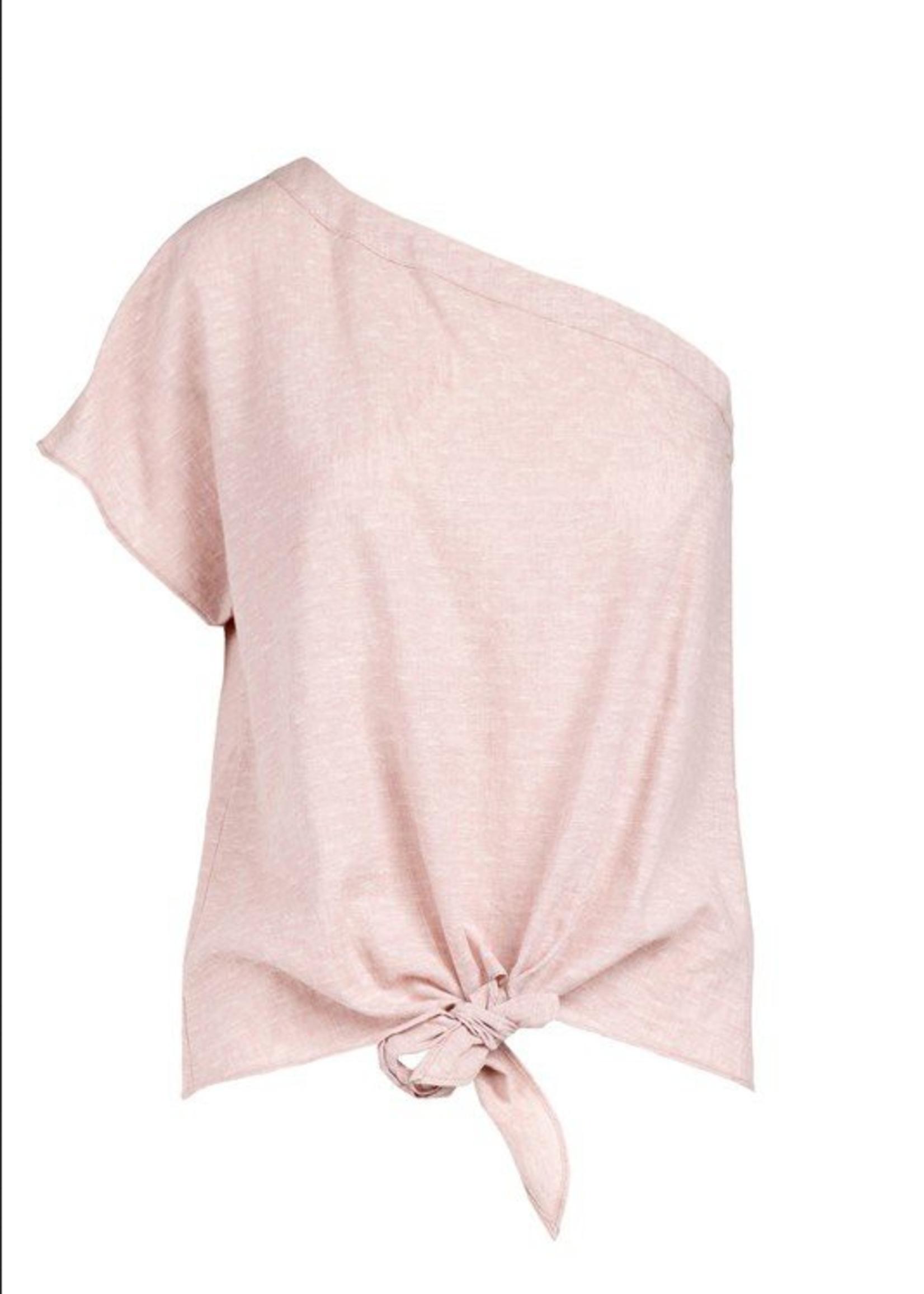 One Shoulder Top with Tie - Mauve