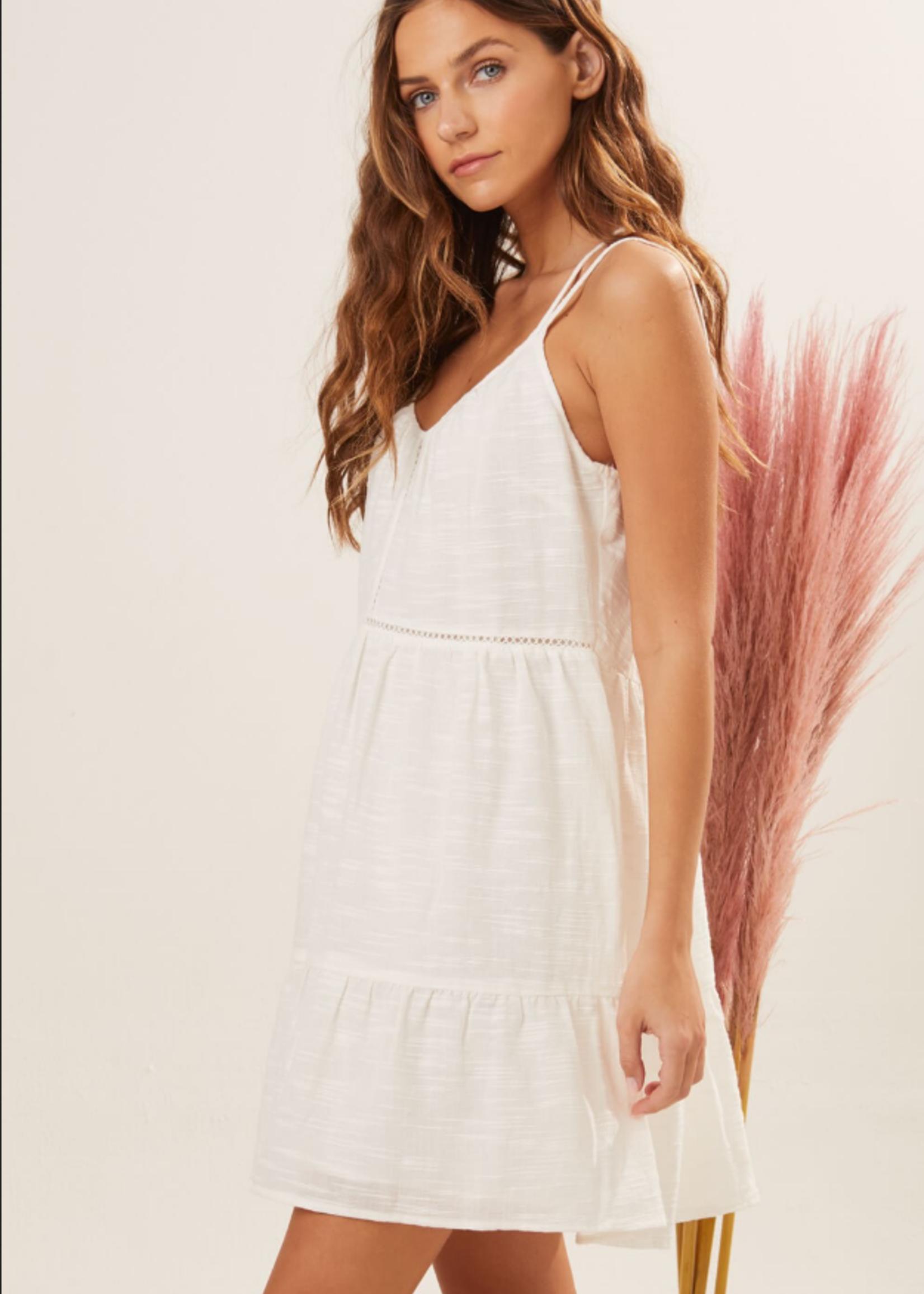 Textured Tiered Dress - White