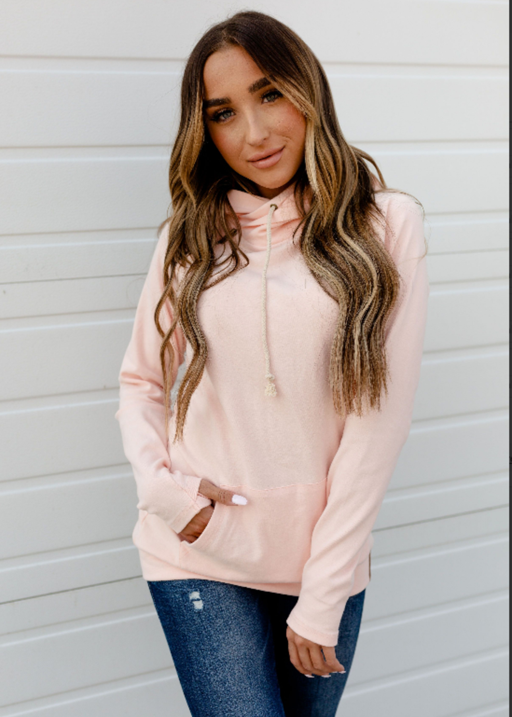 Ampersand Avenue Basic Doublehood Sweatshirt - Rose Quartz